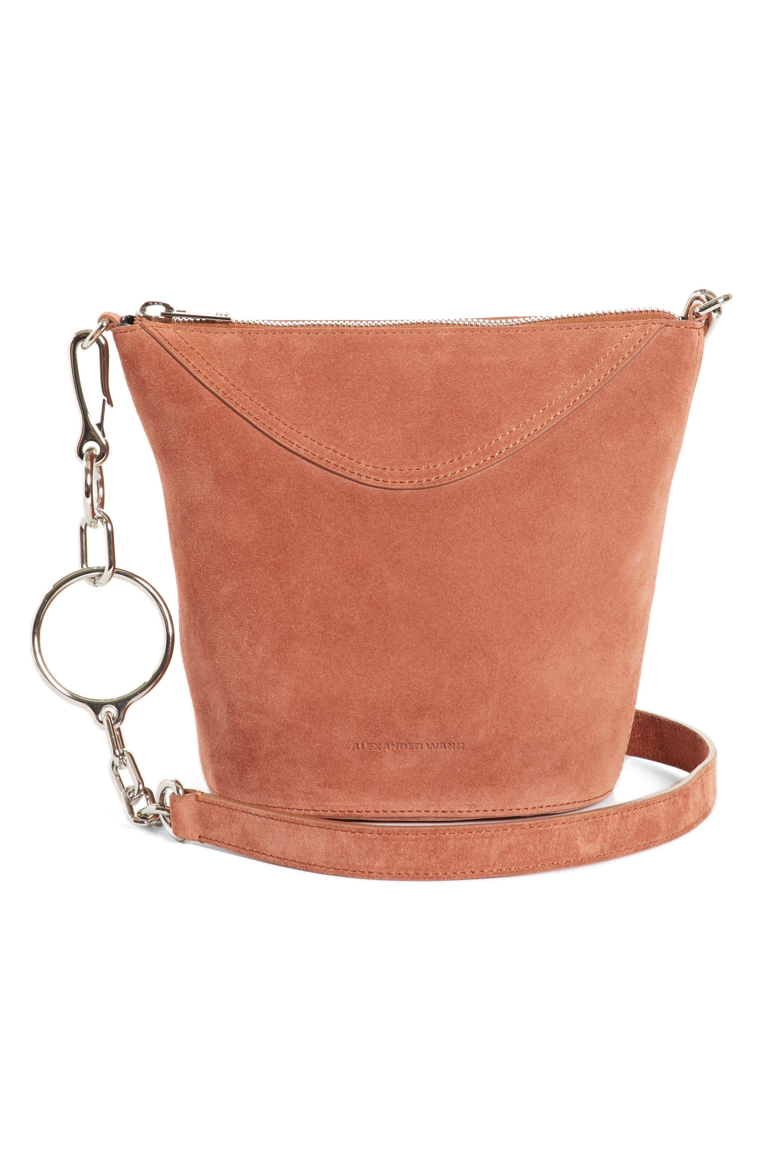Ace Suede Bucket Bag,                             Main thumbnail 1, color,                             Terracotta
