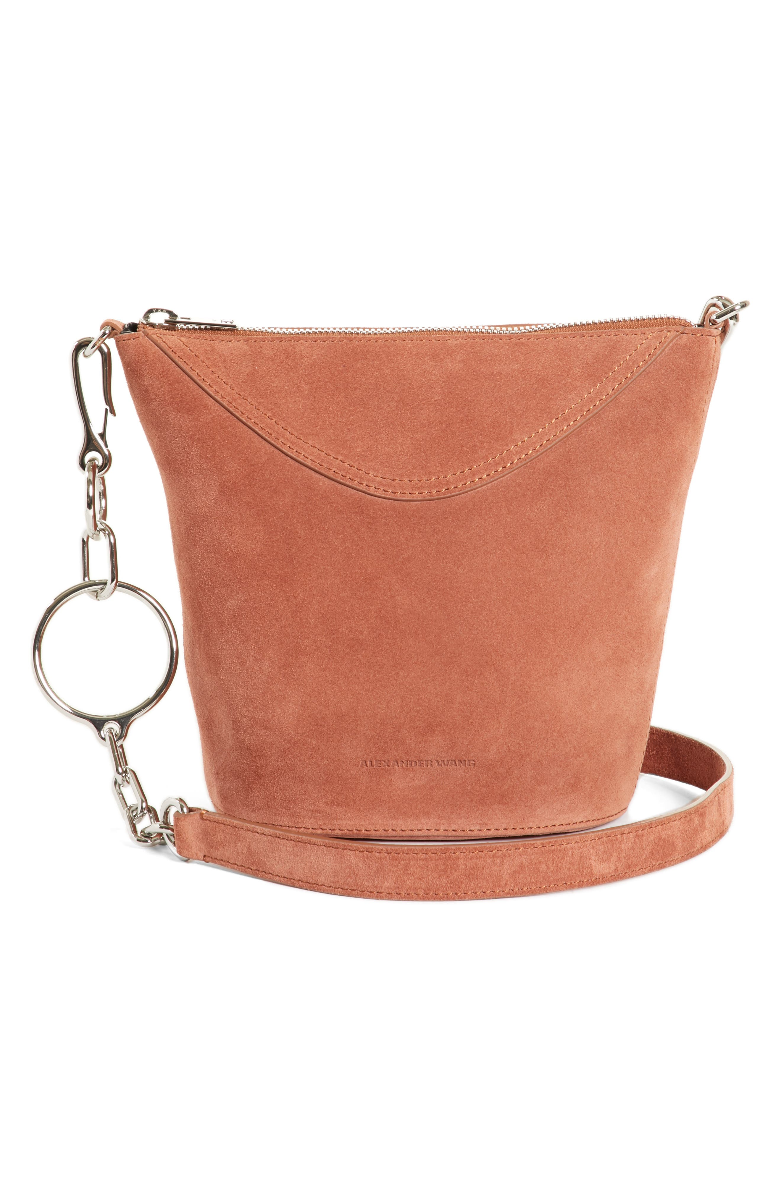 Ace Suede Bucket Bag,                         Main,                         color, Terracotta