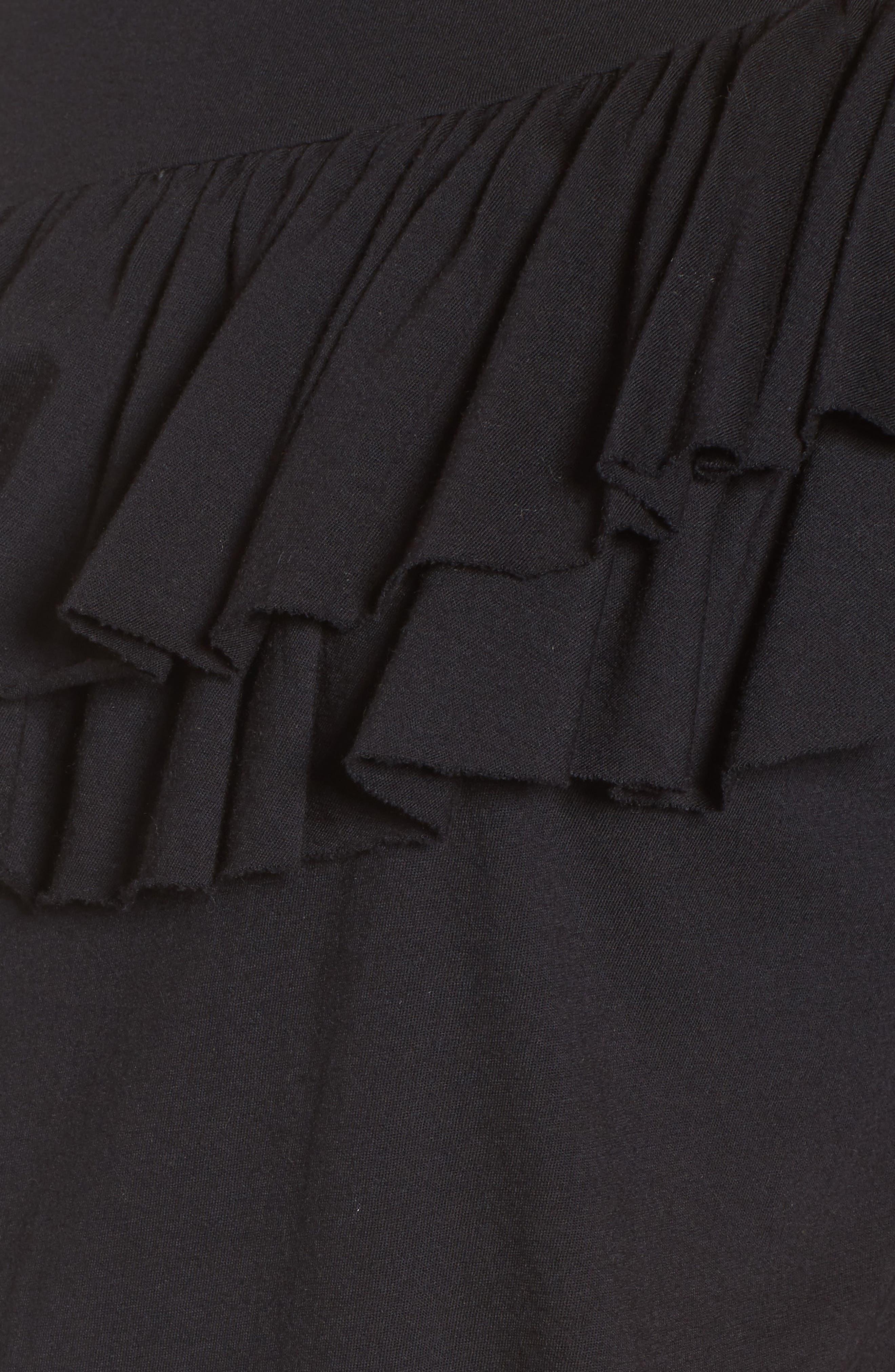 Asymmetrical Ruffle Tee,                             Alternate thumbnail 5, color,                             Black