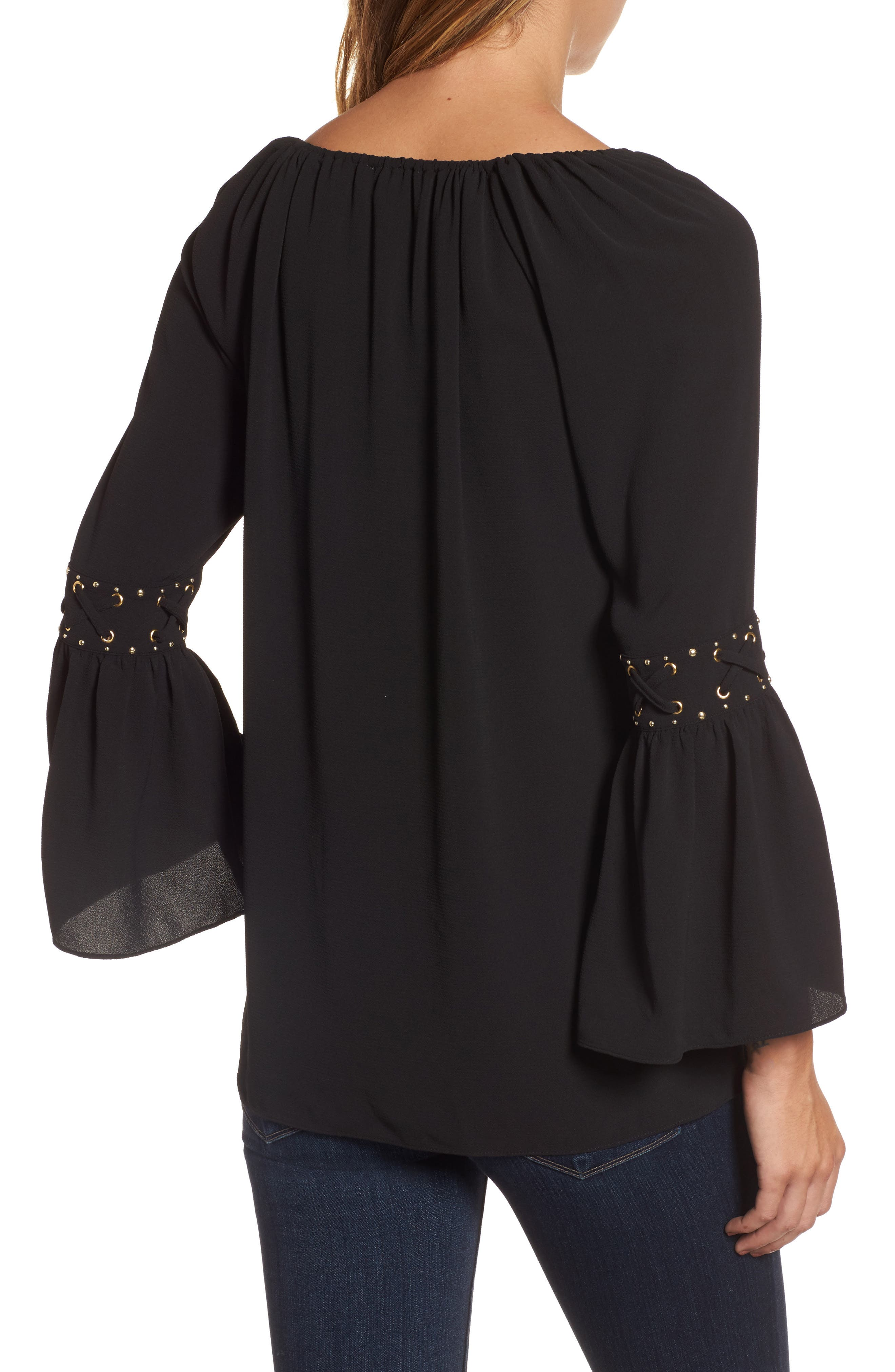 Lace-Up Sleeve Top,                             Alternate thumbnail 2, color,                             Black