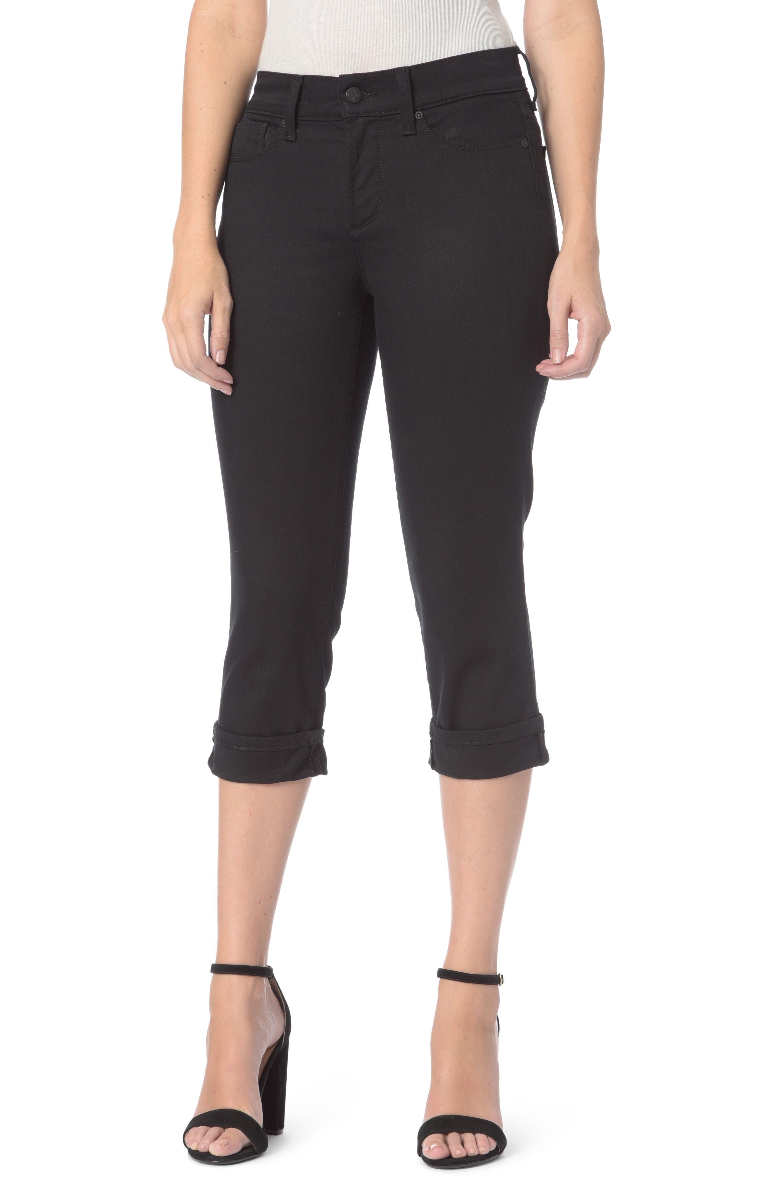Marilyn Stretch Cuffed Crop Jeans,                         Main,                         color, Black
