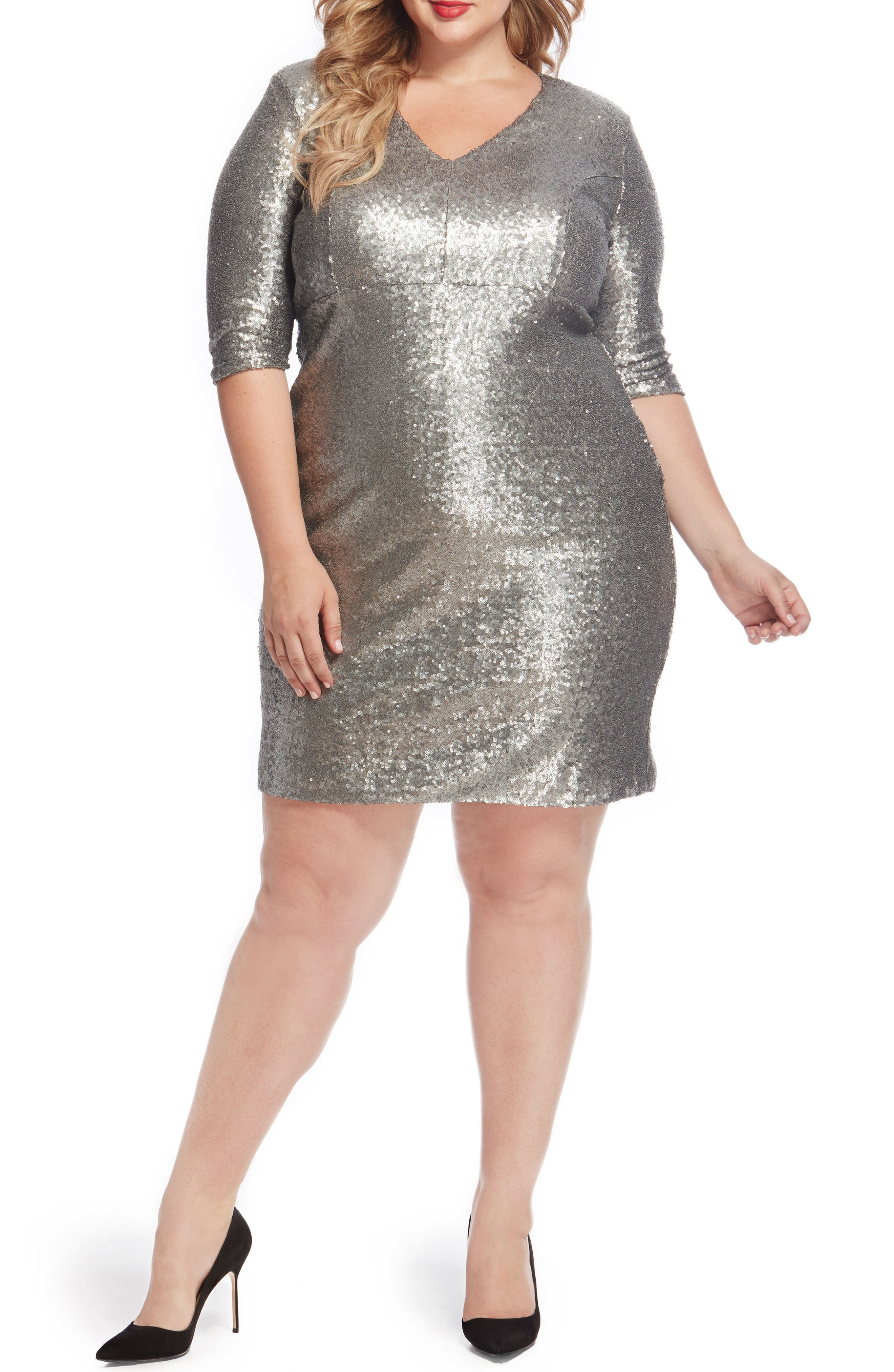 REBEL WILSON X ANGELS Empire Waist Sequin Dress (Plus Size)