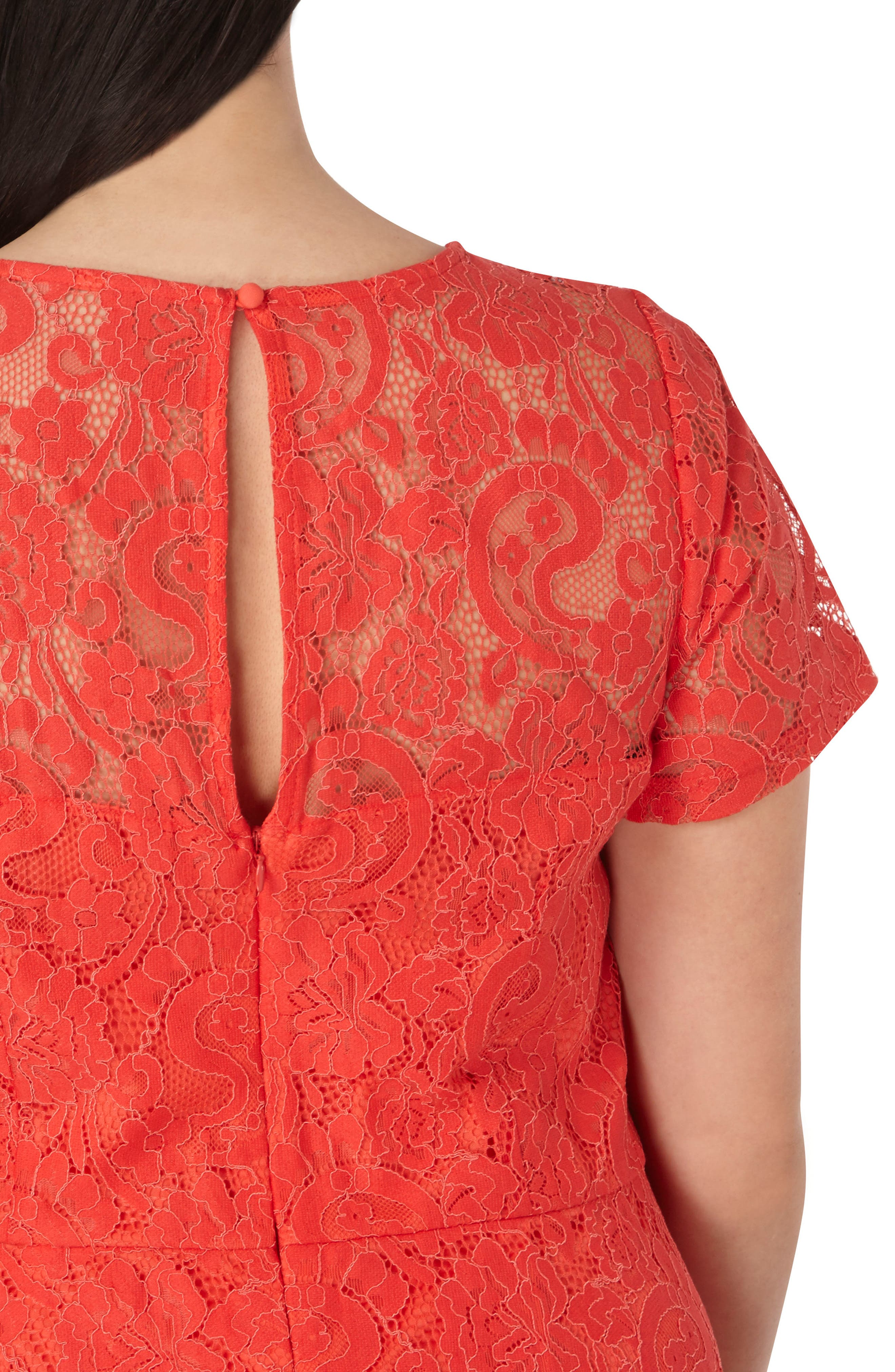 Lace Fit & Flare Dress,                             Alternate thumbnail 3, color,                             Red