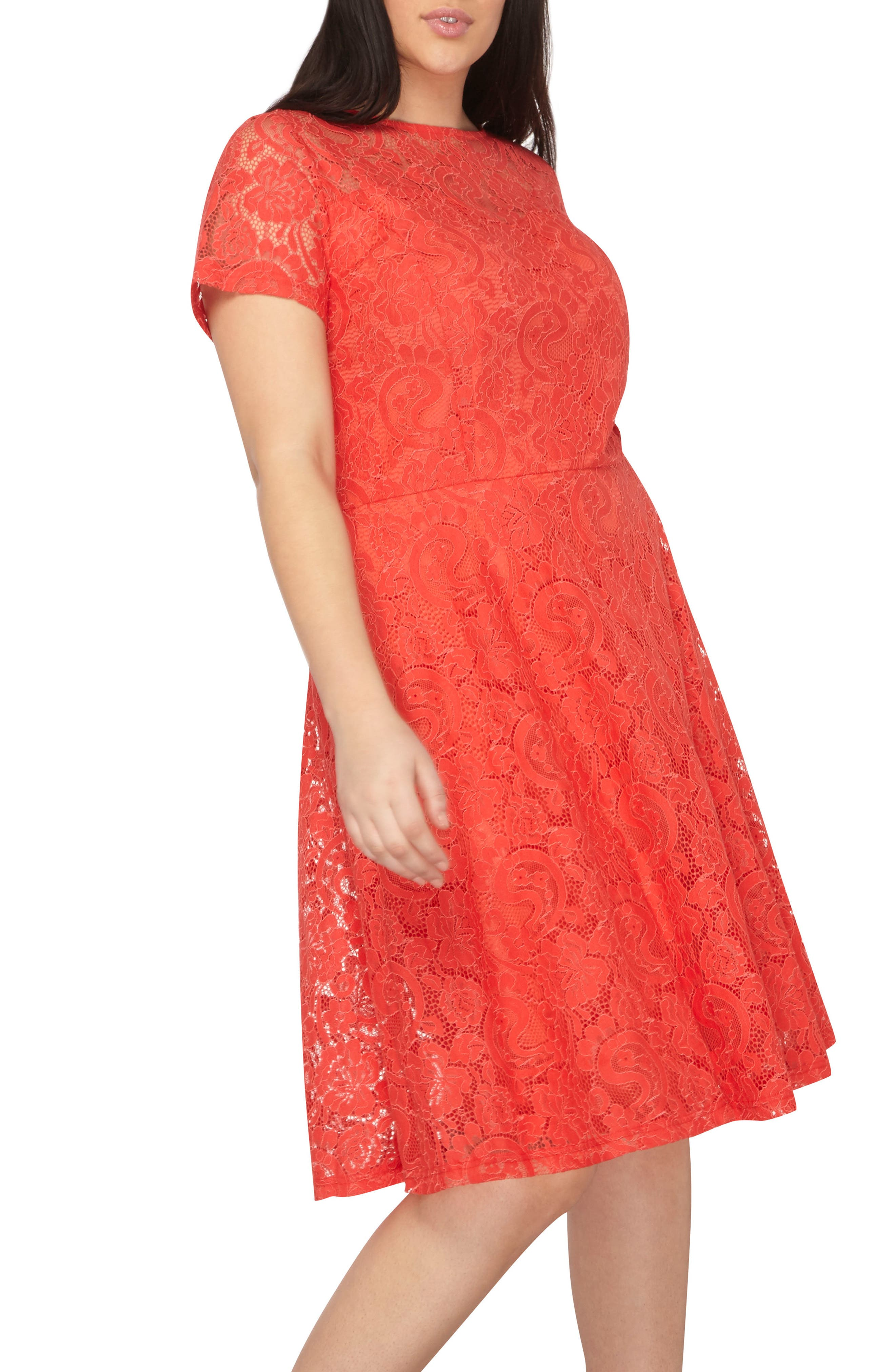 Lace Fit & Flare Dress,                             Alternate thumbnail 4, color,                             Red