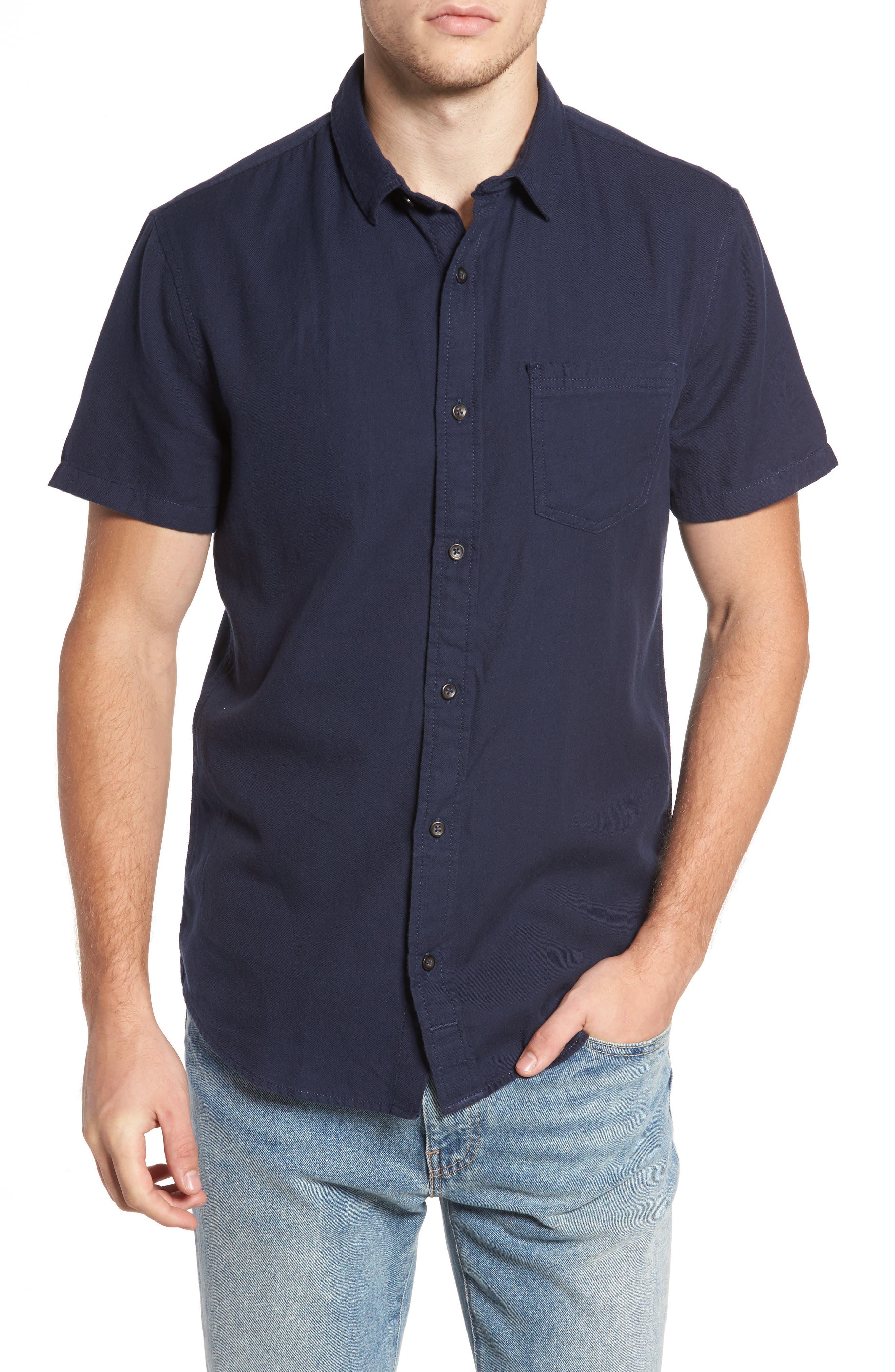 The Rail Short Sleeve Twill Shirt,                         Main,                         color, Navy Iris