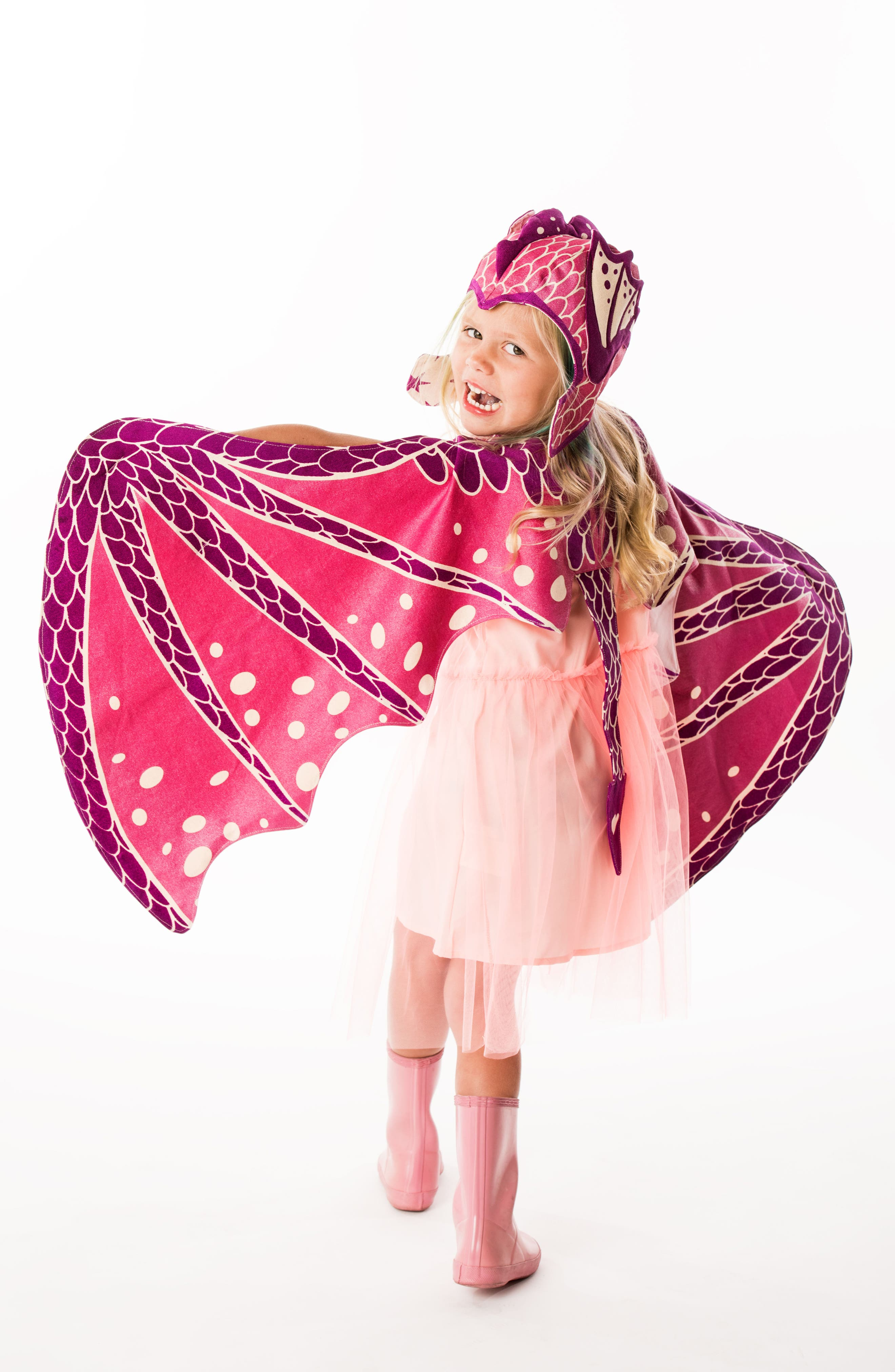Dragon Wings & Hat Costume Set,                             Alternate thumbnail 2, color,                             Pink