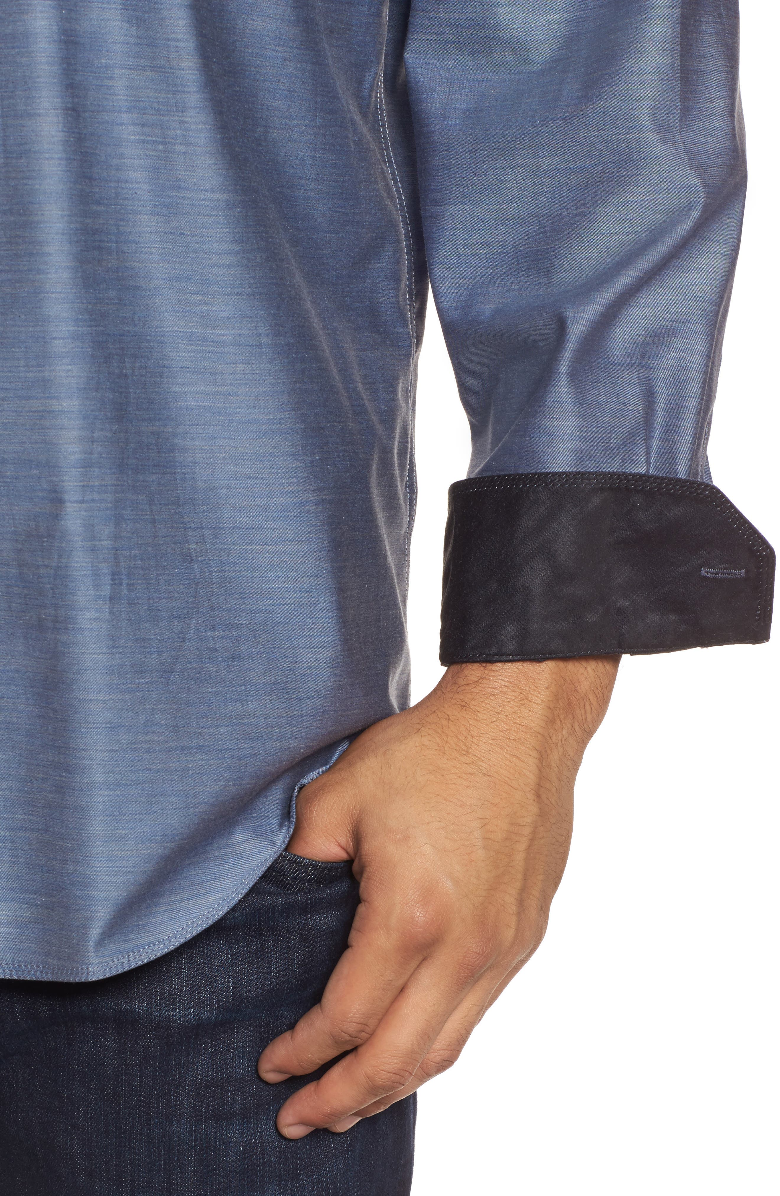 Classic Fit Sport Shirt,                             Alternate thumbnail 4, color,                             Steel
