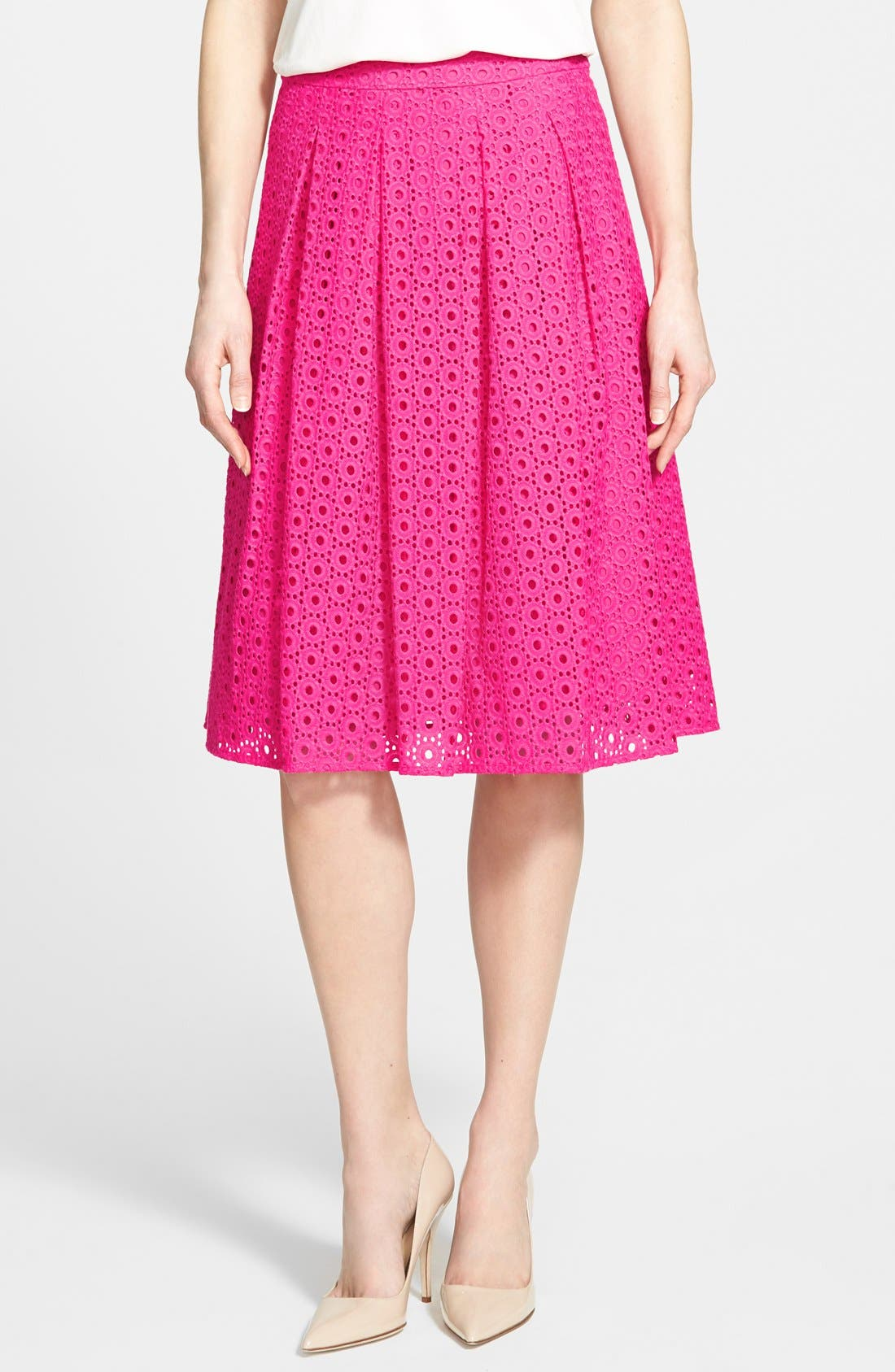 Eyelet Pleat Front Skirt,                             Main thumbnail 1, color,                             Pink Rouge