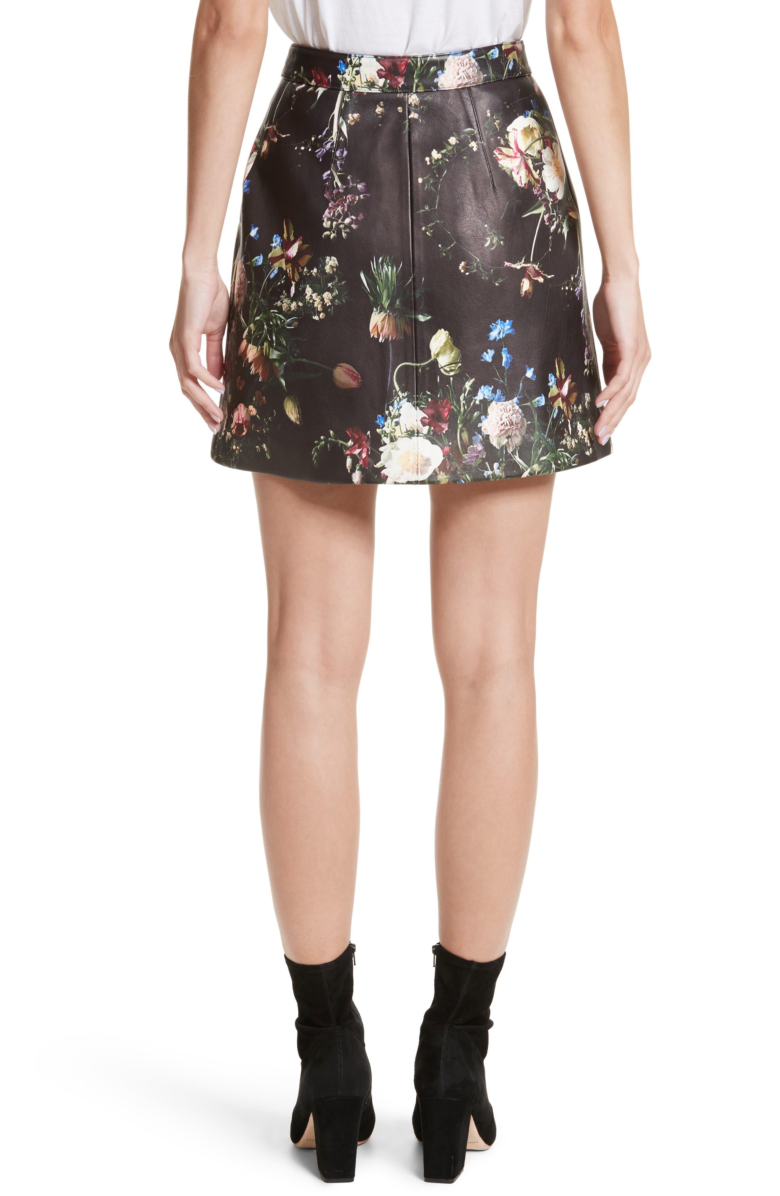 Floral Print Leather Miniskirt,                             Alternate thumbnail 3, color,                             Black