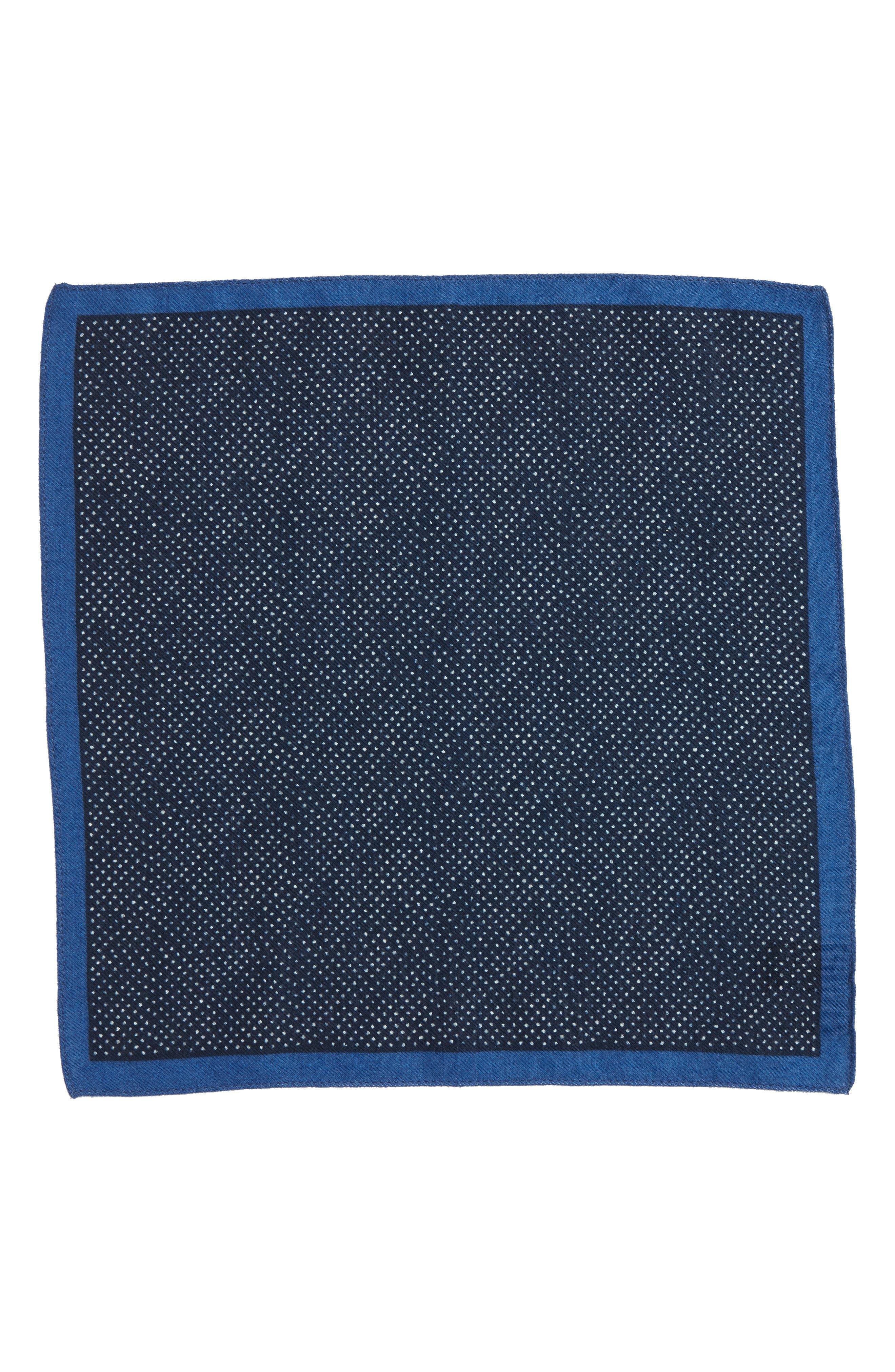 Dot Wool Pocket Square,                             Alternate thumbnail 2, color,                             Navy