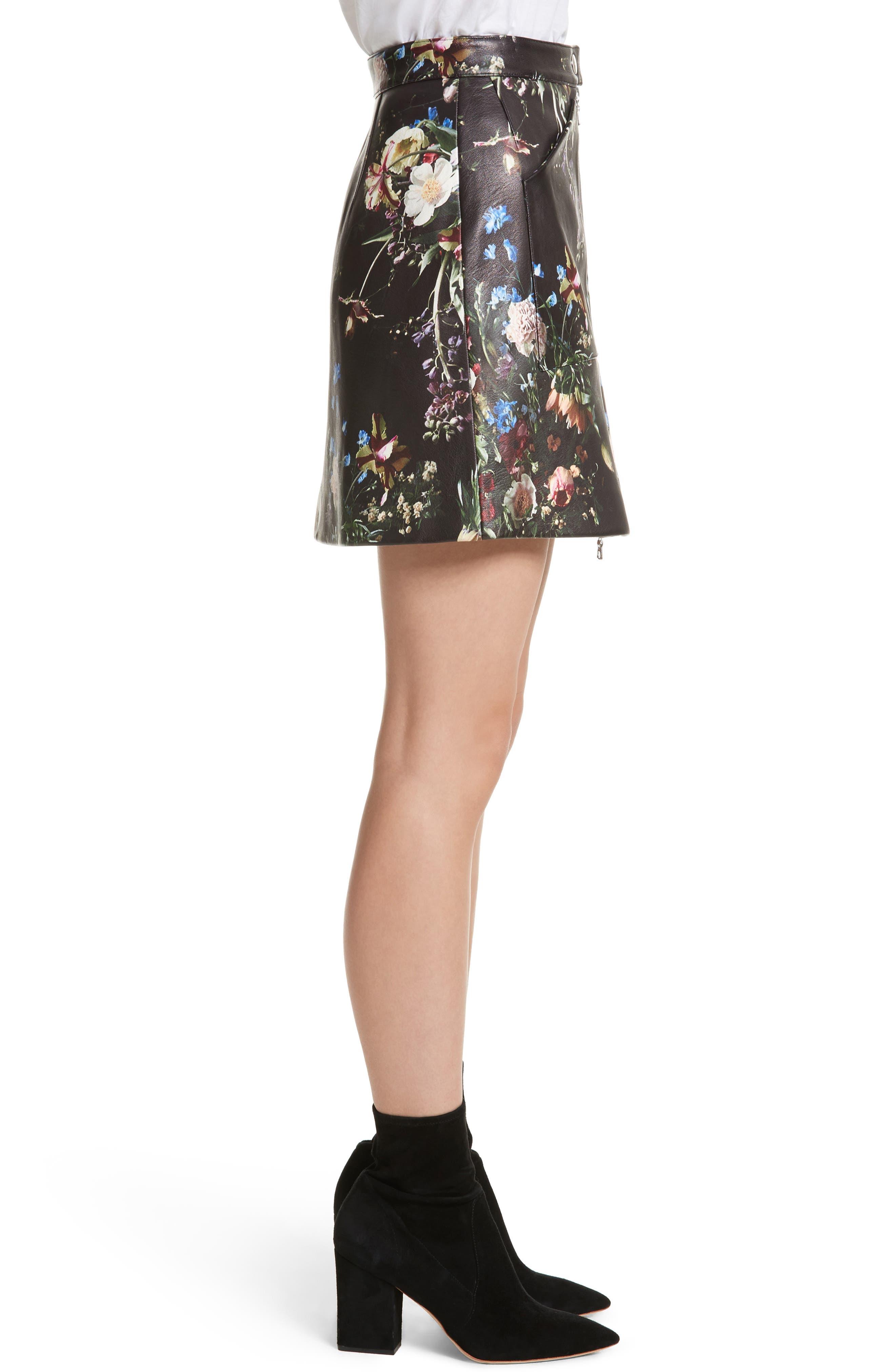 Floral Print Leather Miniskirt,                             Alternate thumbnail 4, color,                             Black
