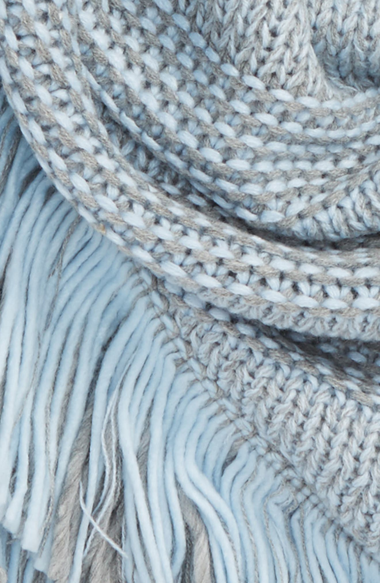 Mouline Fringe Triangle Scarf,                             Alternate thumbnail 3, color,                             Heather Gray/ Skyway