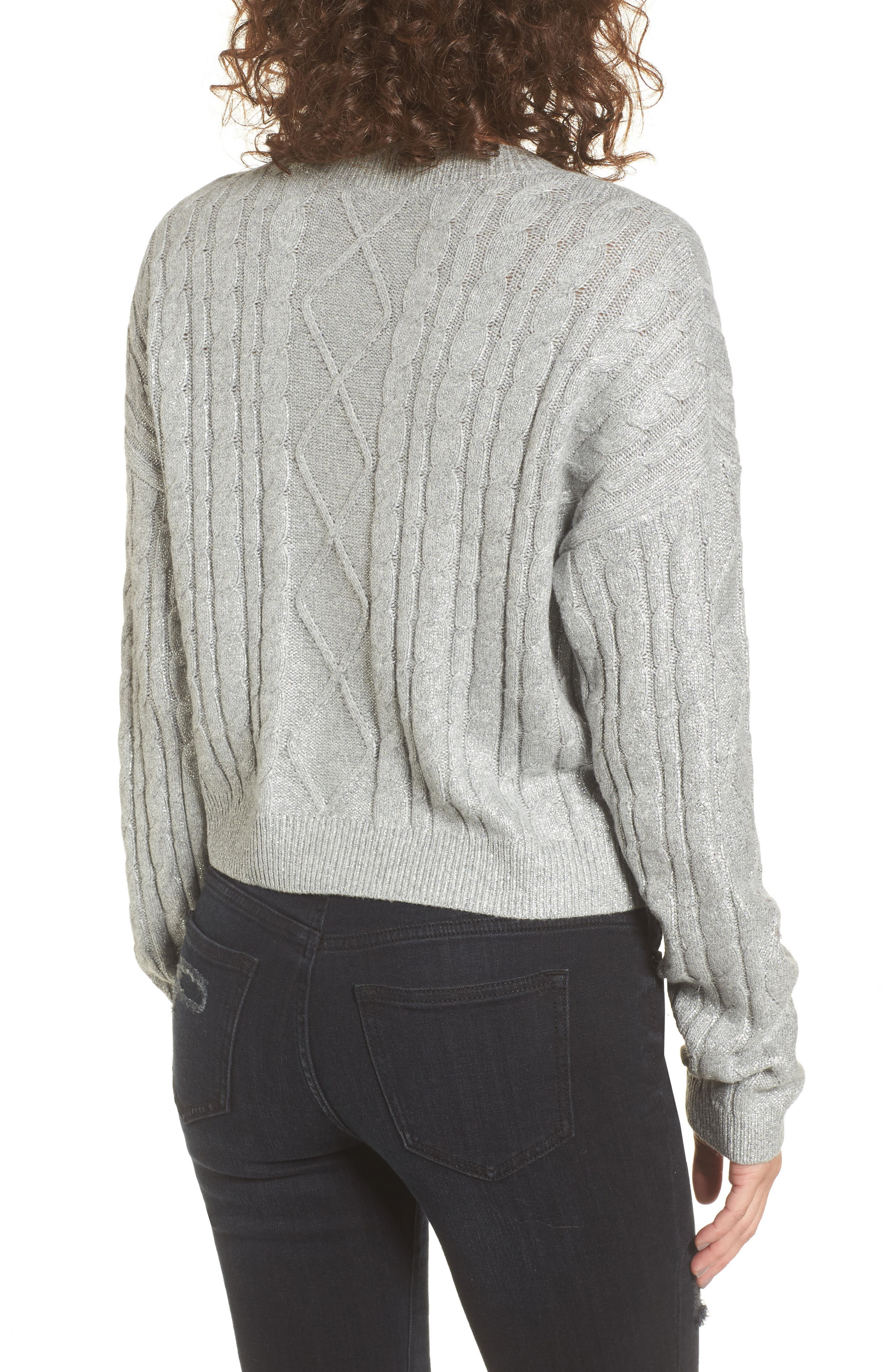 Alternate Image 2  - BP. Metallic Cable Knit Sweater