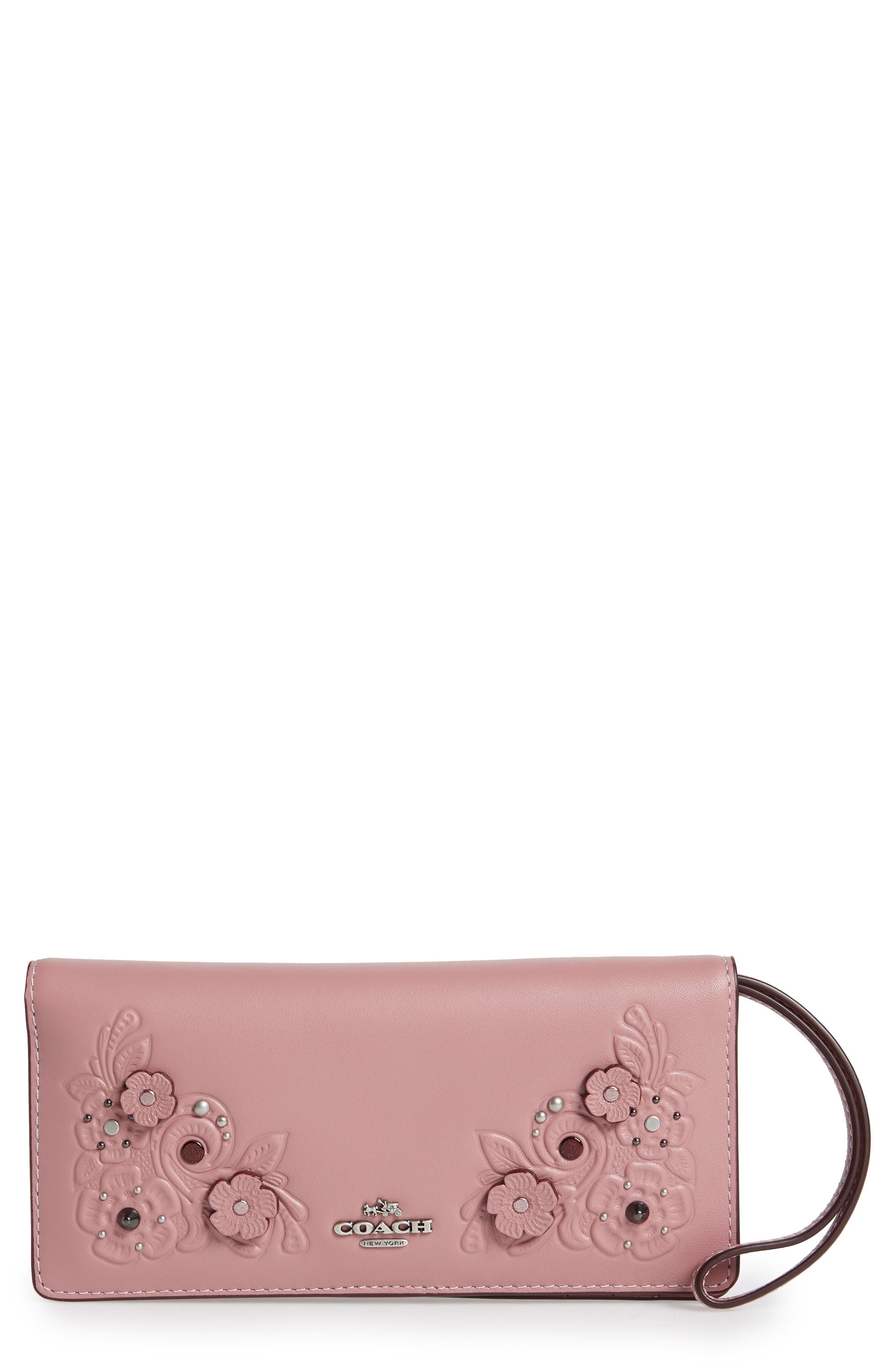 Slim Tea Rose Calfskin Leather Wristlet,                         Main,                         color, Dusty Rose