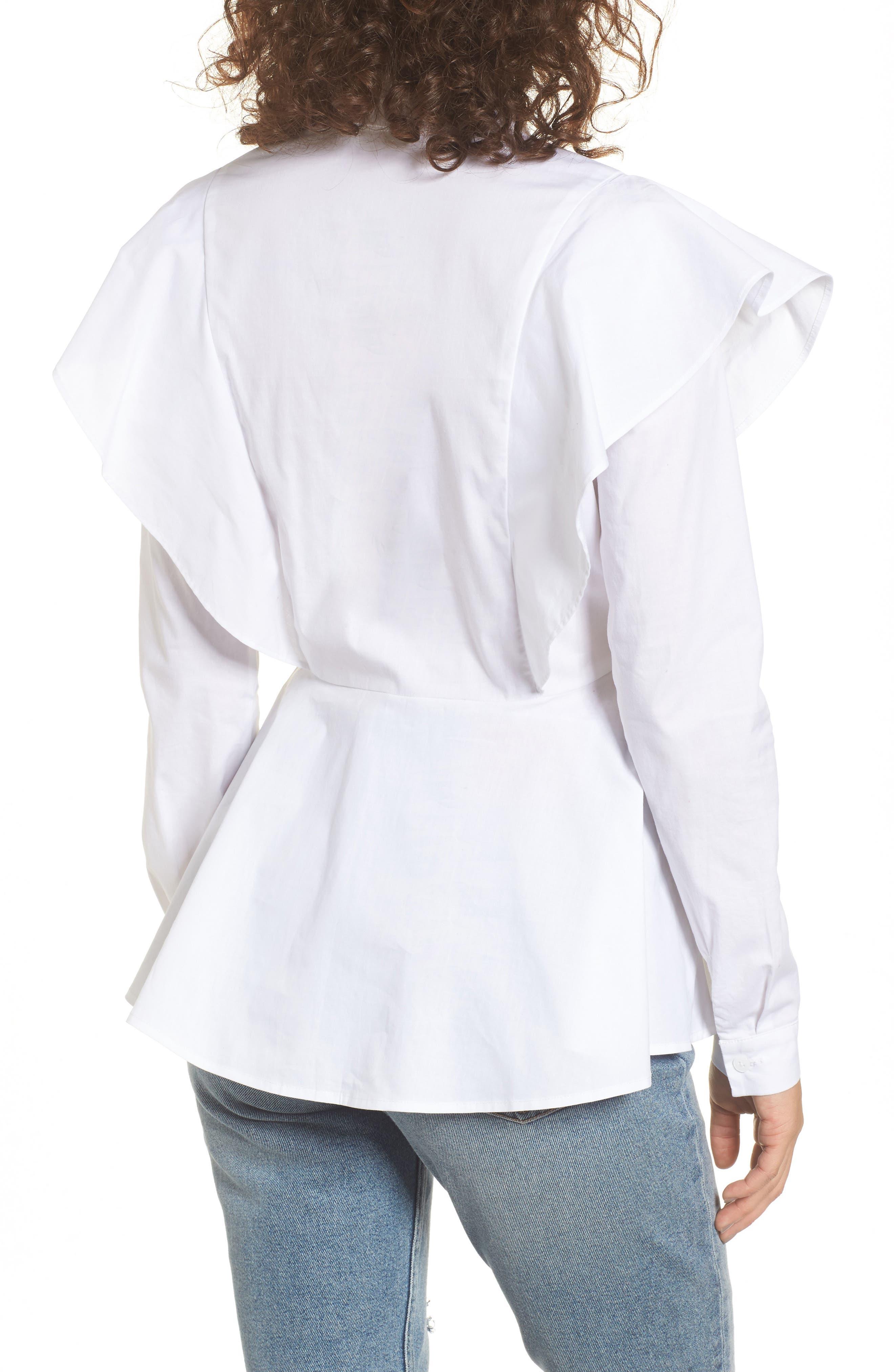 Ruffle Shoulder Peplum Top,                             Alternate thumbnail 2, color,                             White