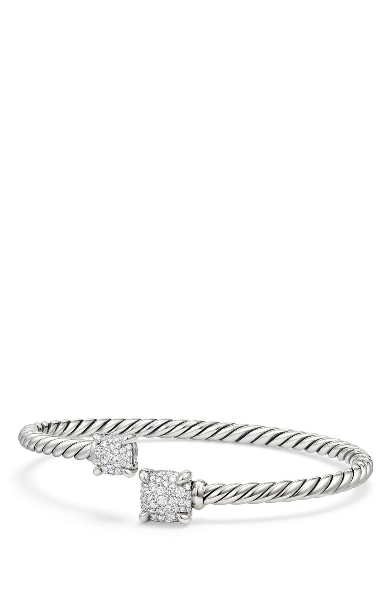 Châtelaine Bypass Bracelet with Diamonds,                         Main,                         color, Silver