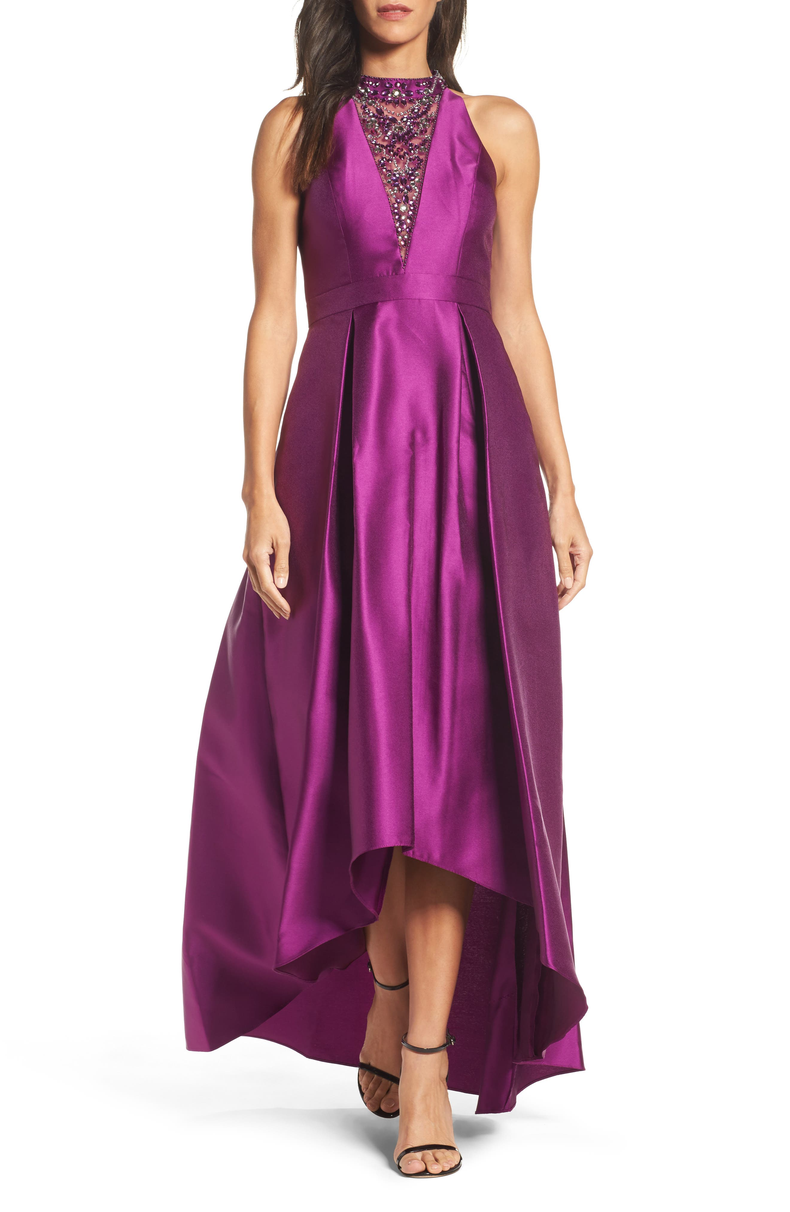 Embellished Mikado High/Low Gown,                             Main thumbnail 1, color,                             Ultra Berry