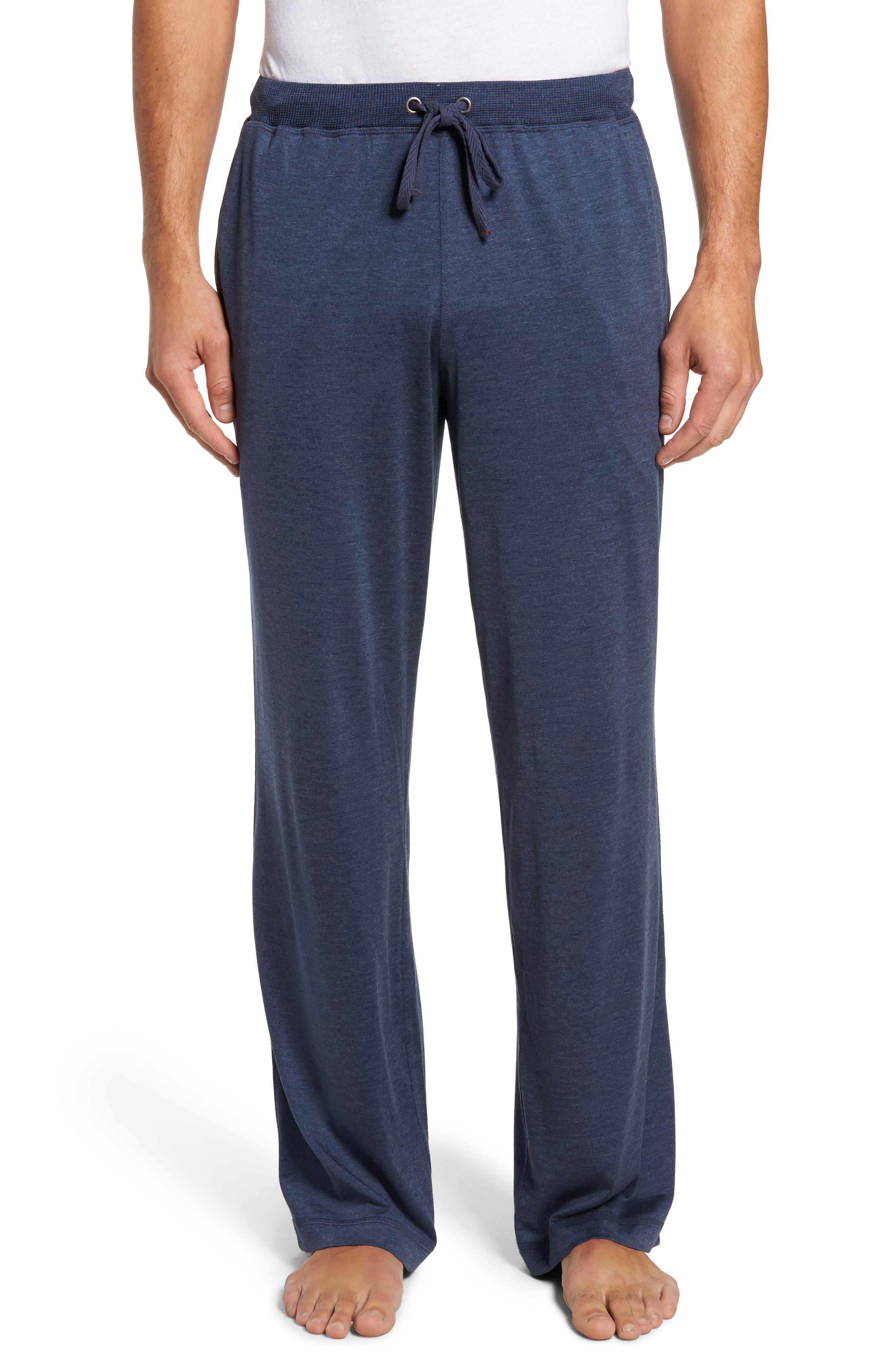 Silk & Cotton Lounge Pants,                         Main,                         color, Navy Heather