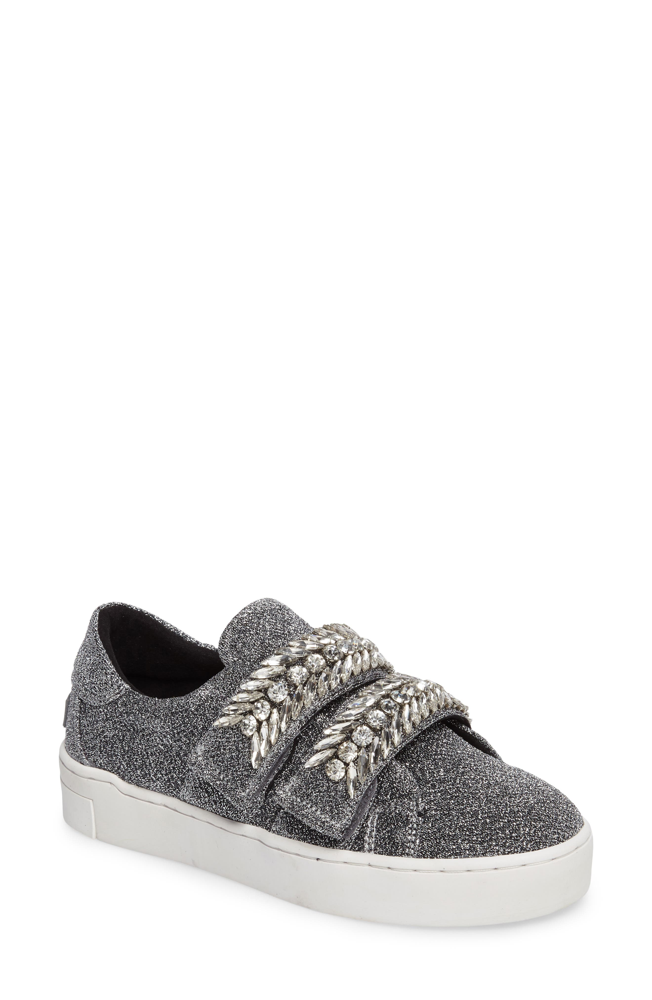 Crystal Embellished Sneaker,                             Main thumbnail 1, color,                             Silver