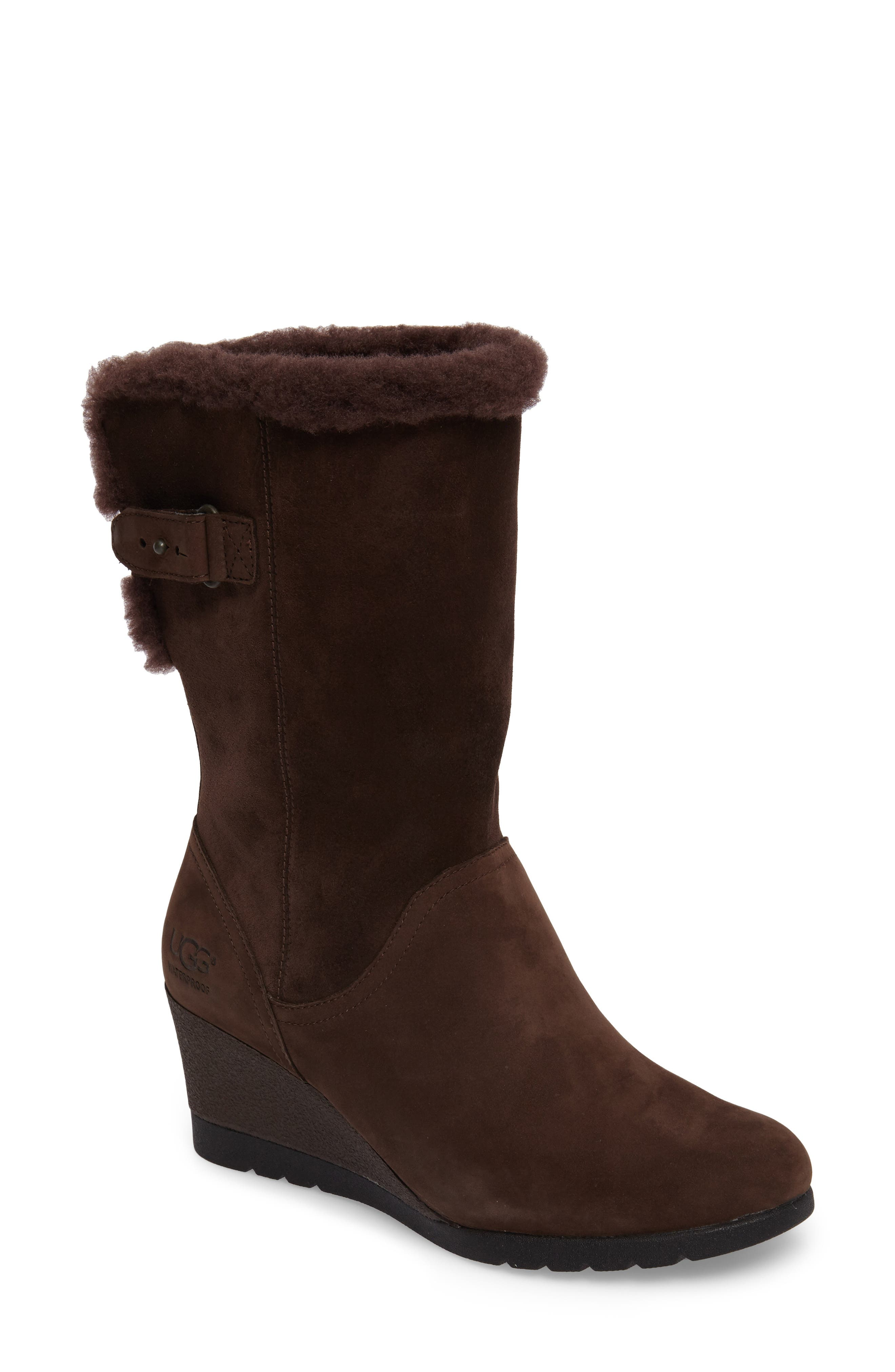 Edelina Waterproof Wedge Boot,                             Main thumbnail 1, color,                             Grizzly Leather
