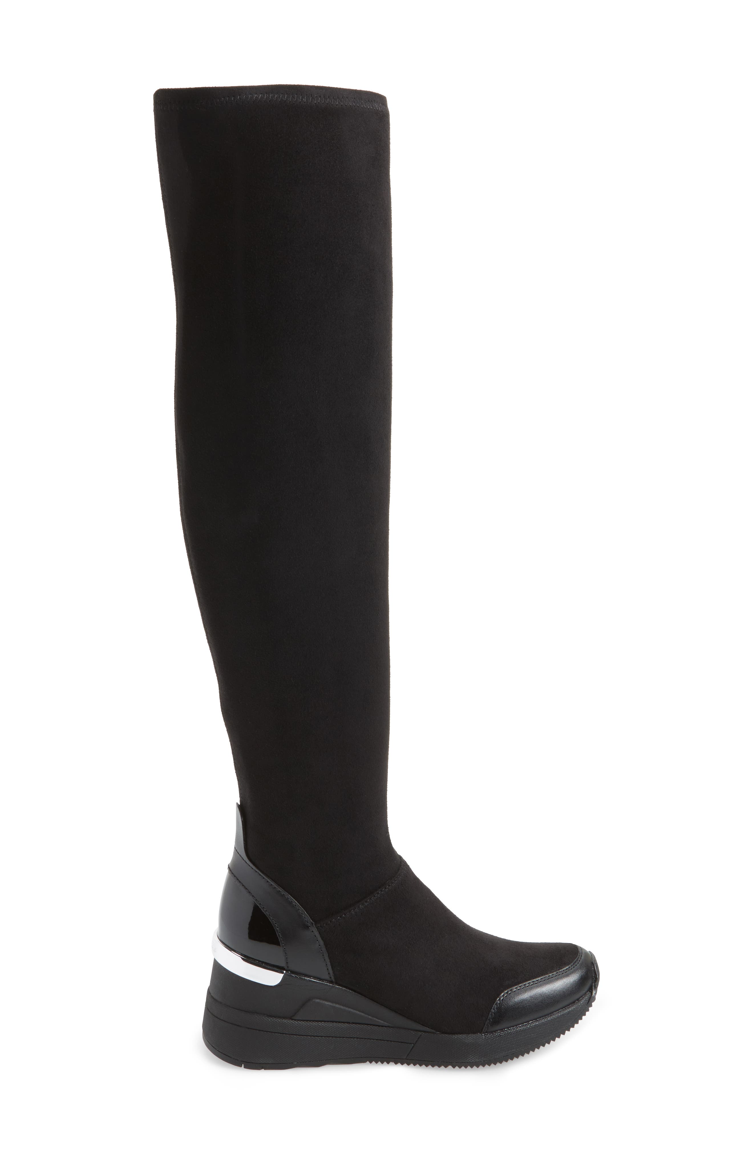 Ace Over the Knee Boot,                             Alternate thumbnail 3, color,                             Black Suede