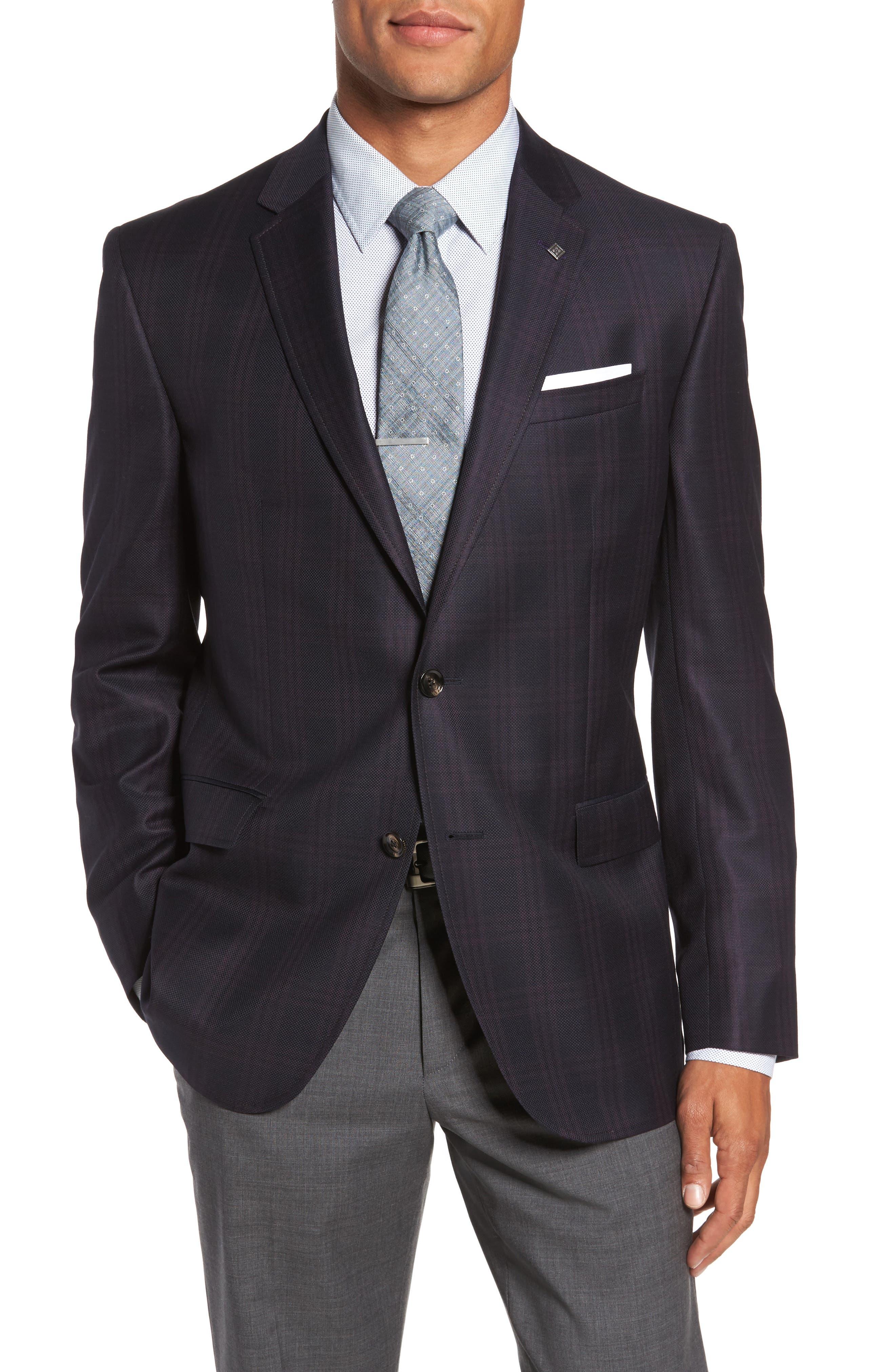 Jed Trim Fit Plaid Wool Sport Coat,                         Main,                         color, Black