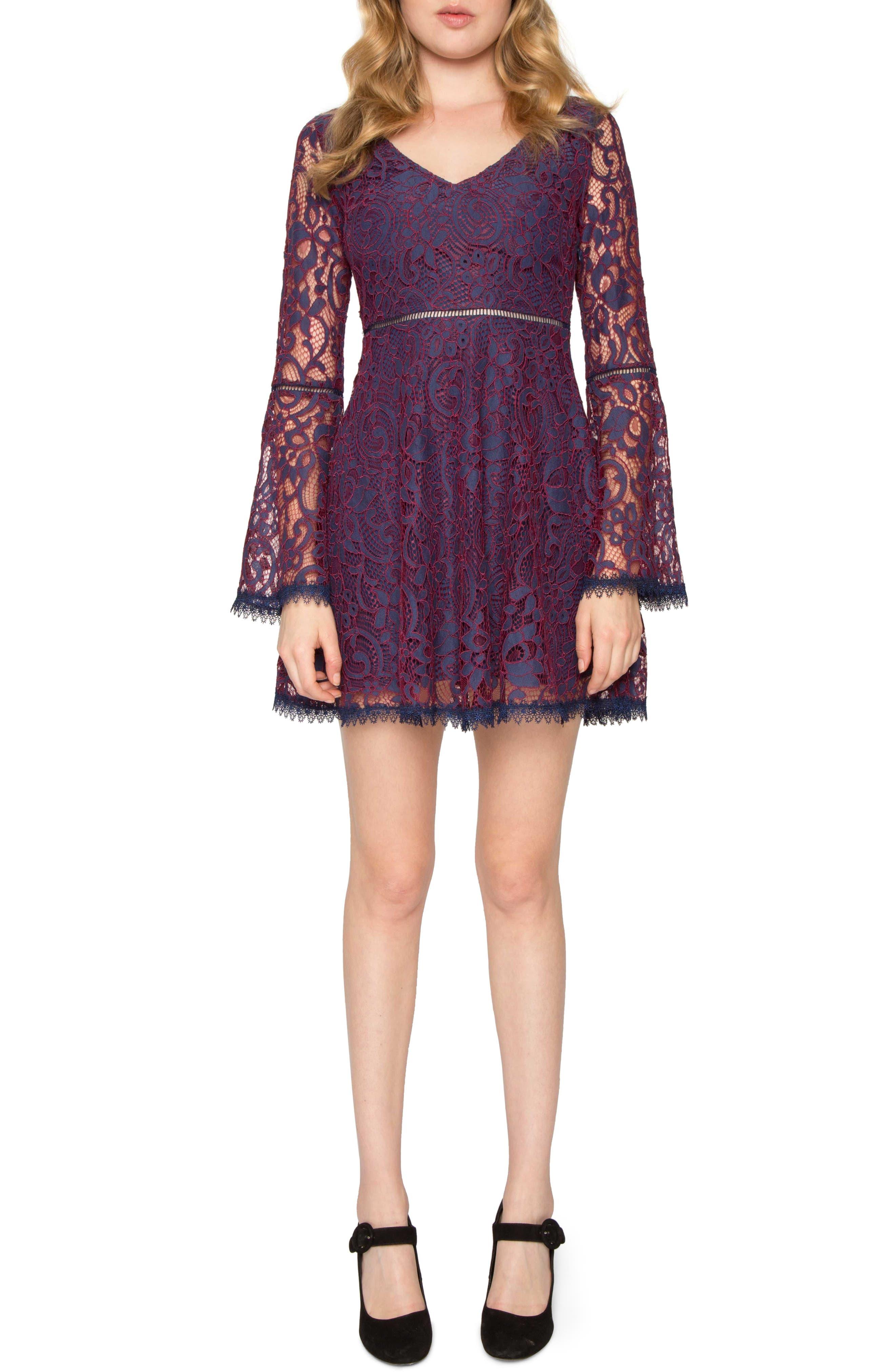 Lace Dress,                             Main thumbnail 1, color,                             Navy