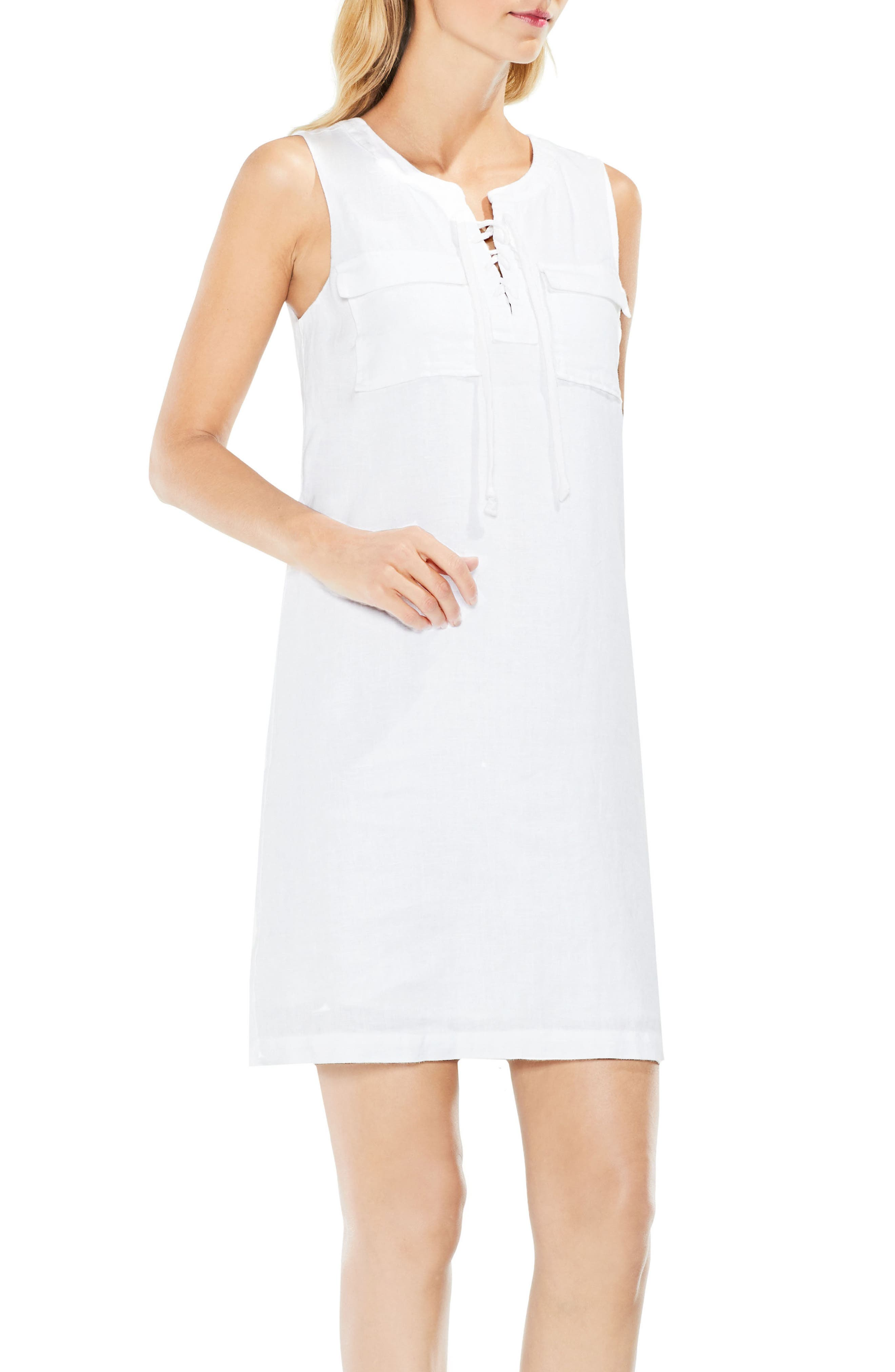Lace-Up Linen Shift Dress,                         Main,                         color, Ultra White