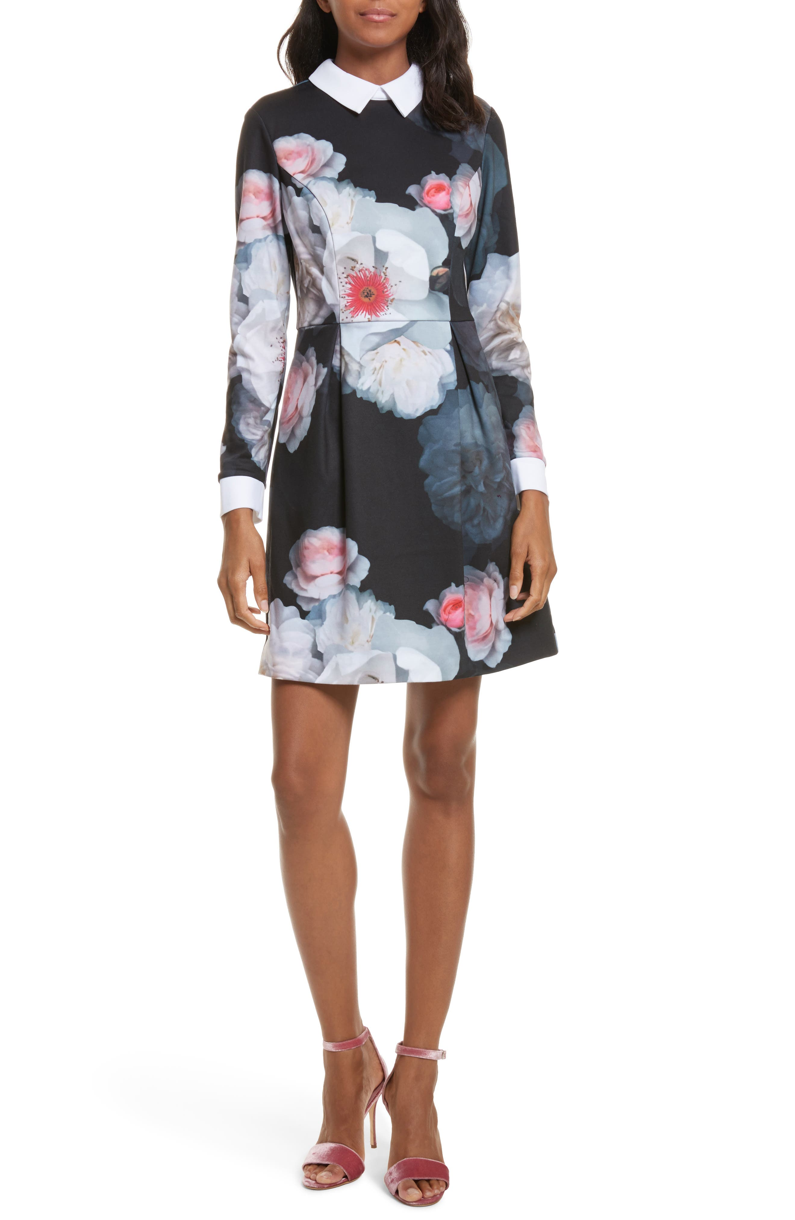 Kaleesa Chelsea Flower Collar Dress,                         Main,                         color, Black