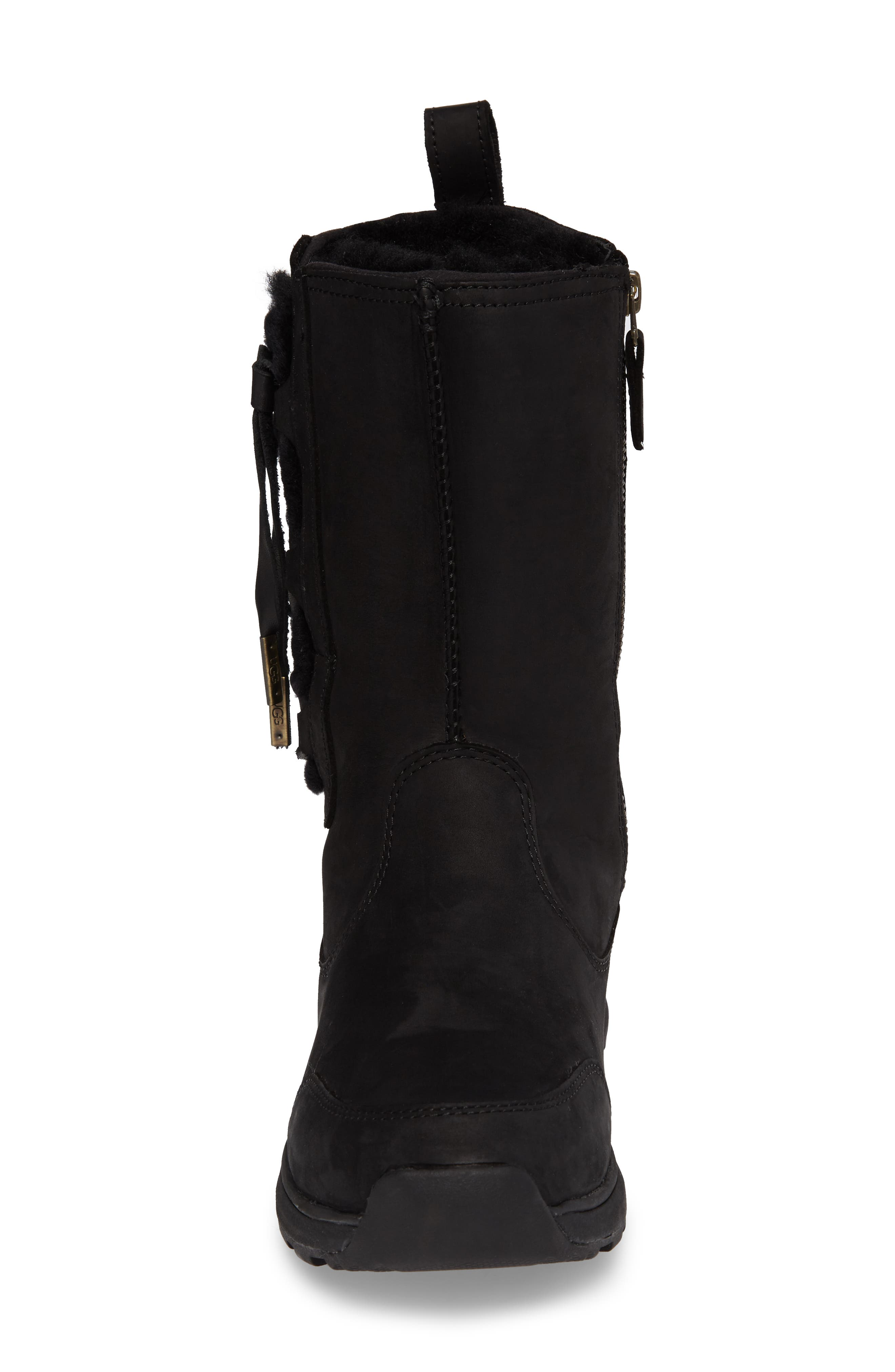 Suvi Waterproof Insulated Winter Boot,                             Alternate thumbnail 4, color,                             Black Leather