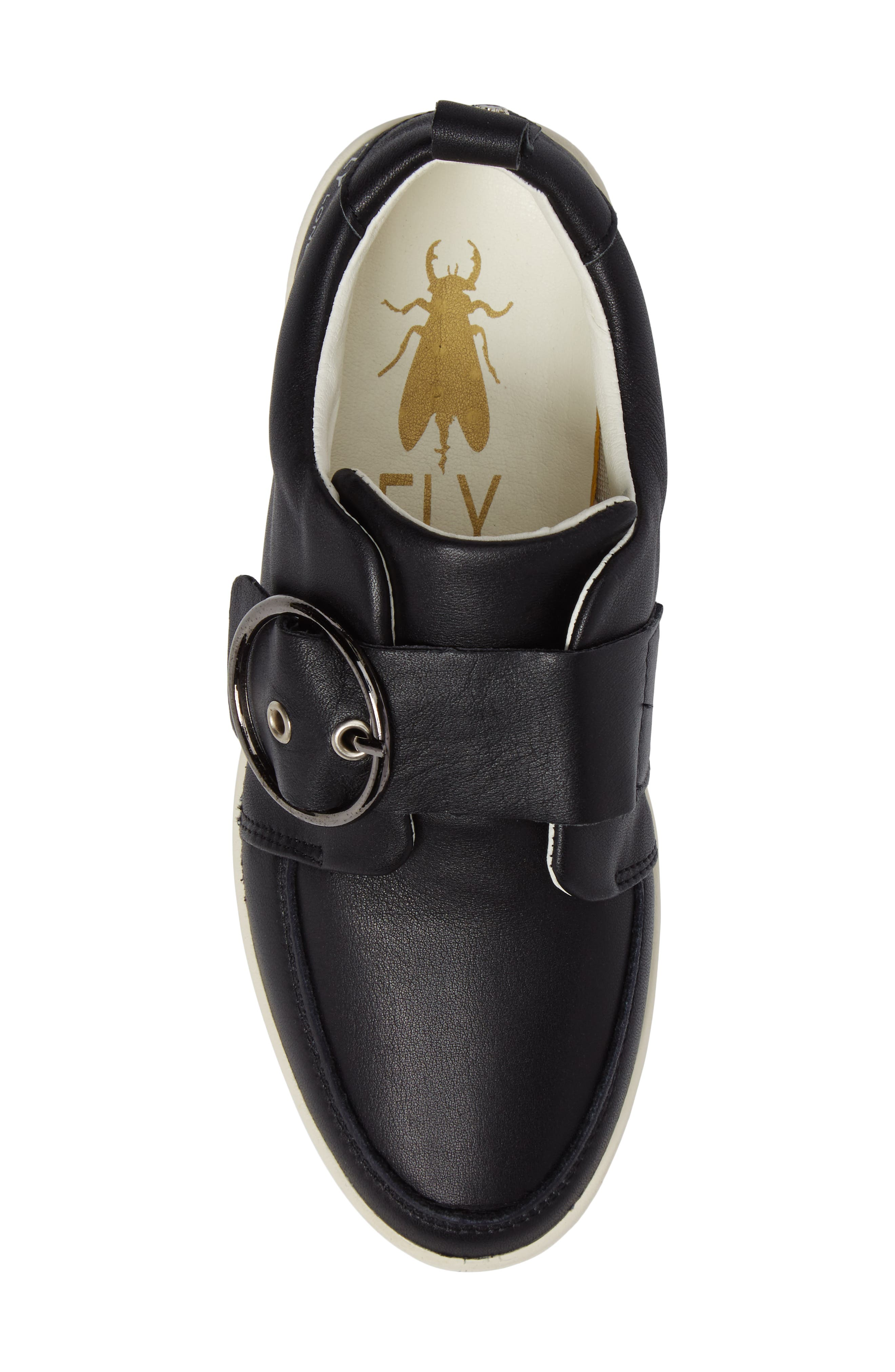 Mice Buckle Sneaker,                             Alternate thumbnail 5, color,                             Black Leather
