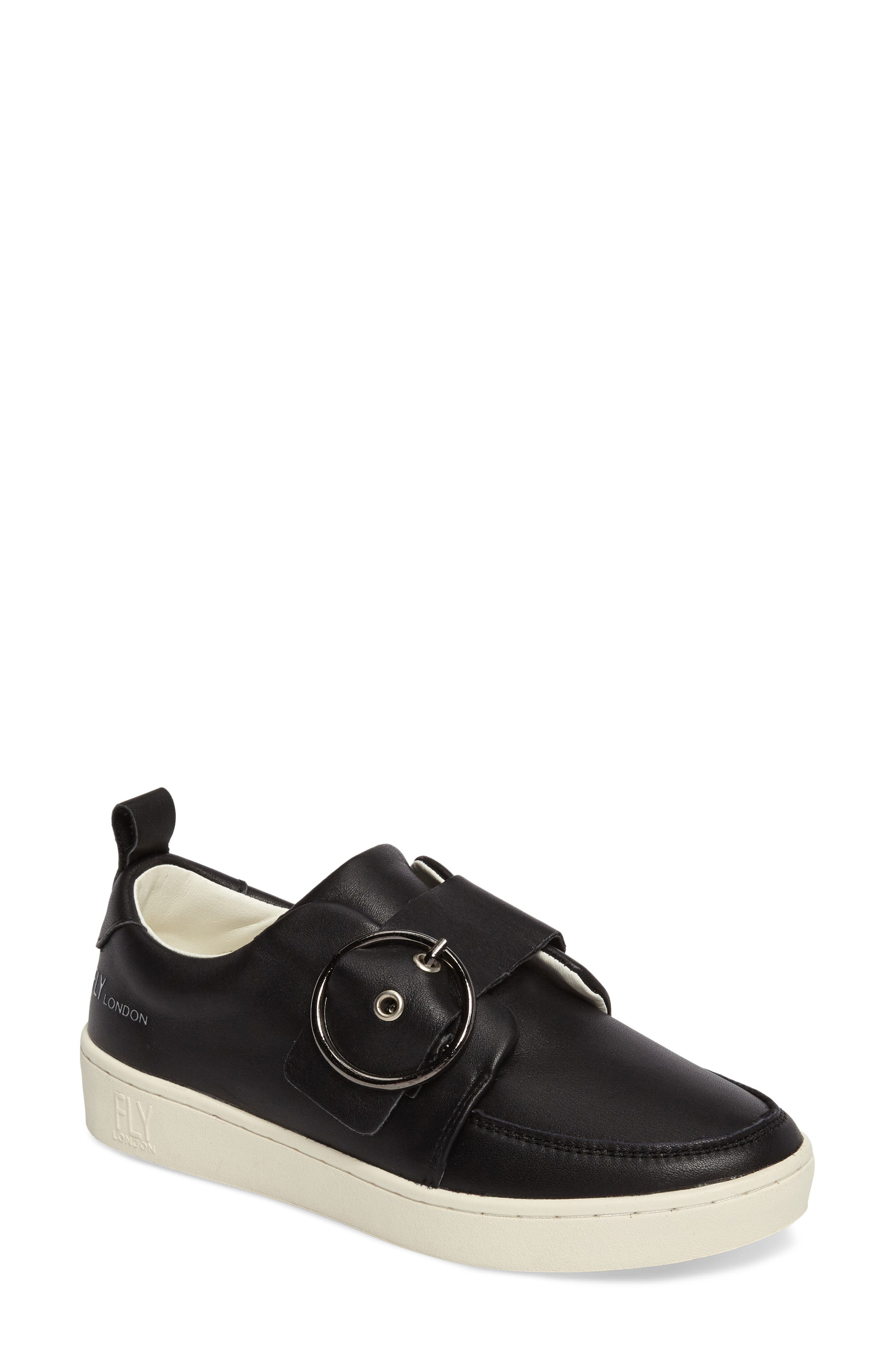 Mice Buckle Sneaker,                             Main thumbnail 1, color,                             Black Leather