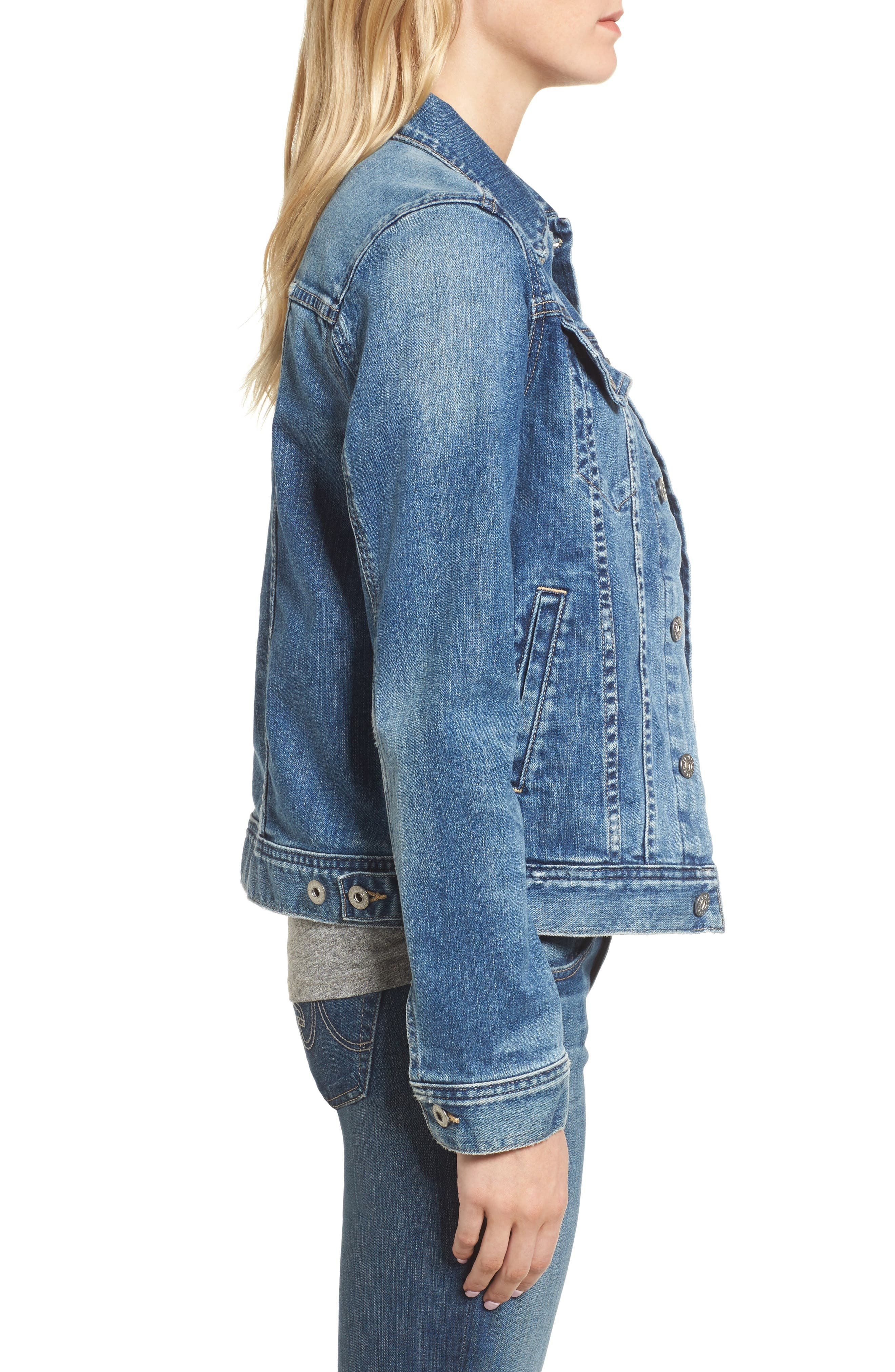 'Mya' Denim Jacket,                             Alternate thumbnail 3, color,                             10 Years Magnetic Blue