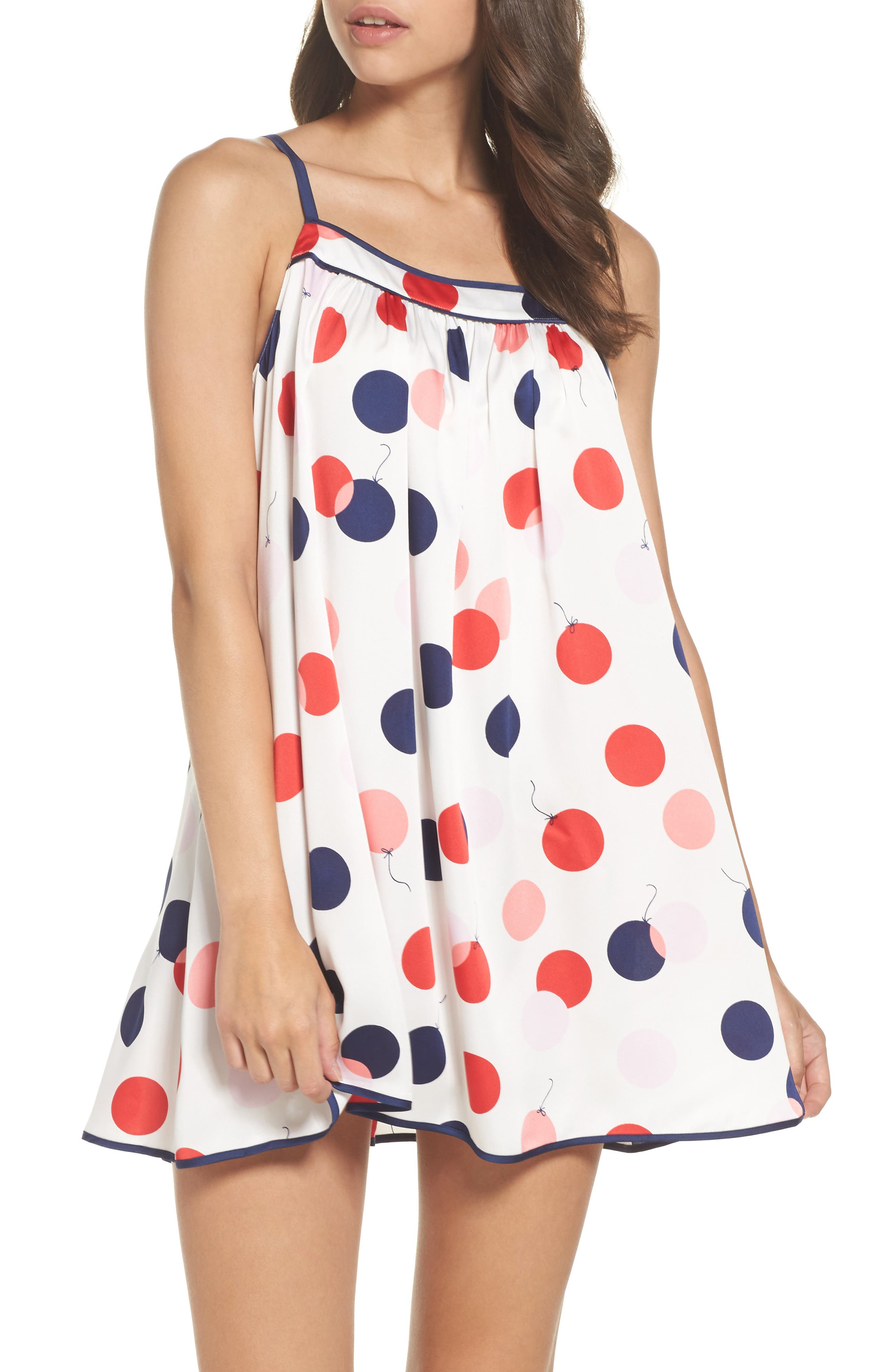 charmeuse chemise,                         Main,                         color, White/ Red