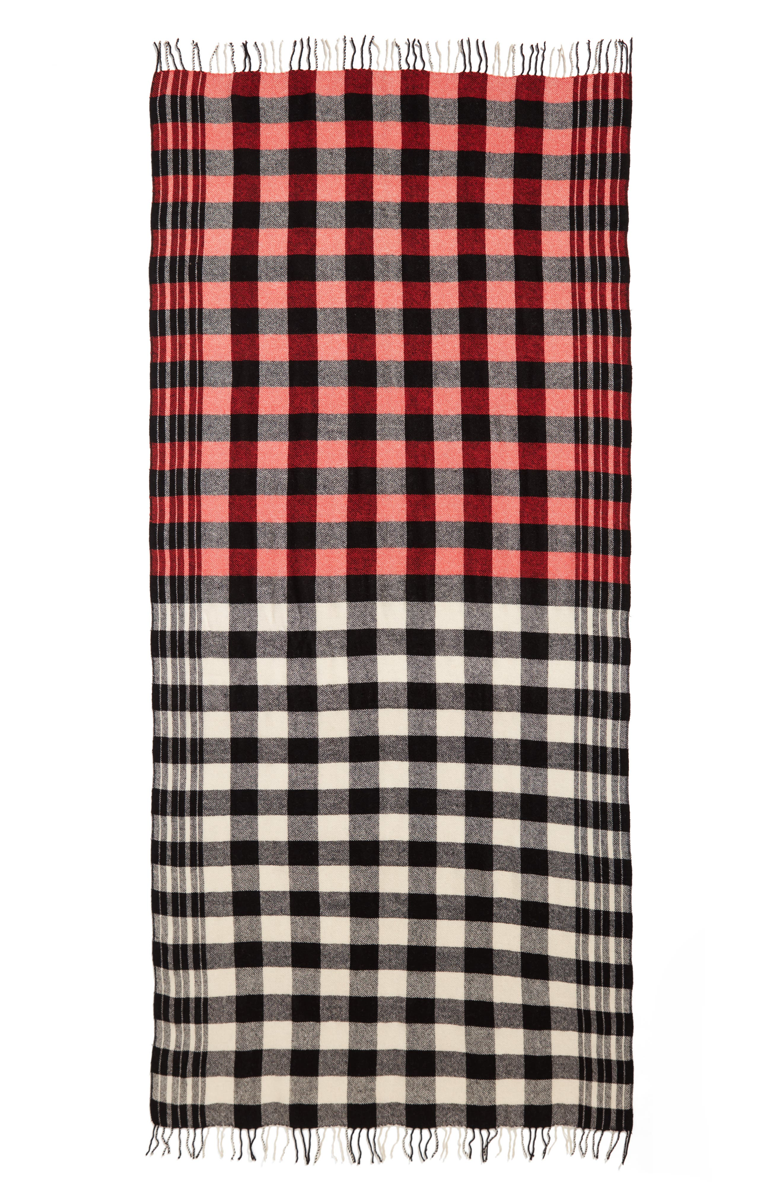 Checked Wool & Cashmere Scarf,                             Alternate thumbnail 2, color,                             Black