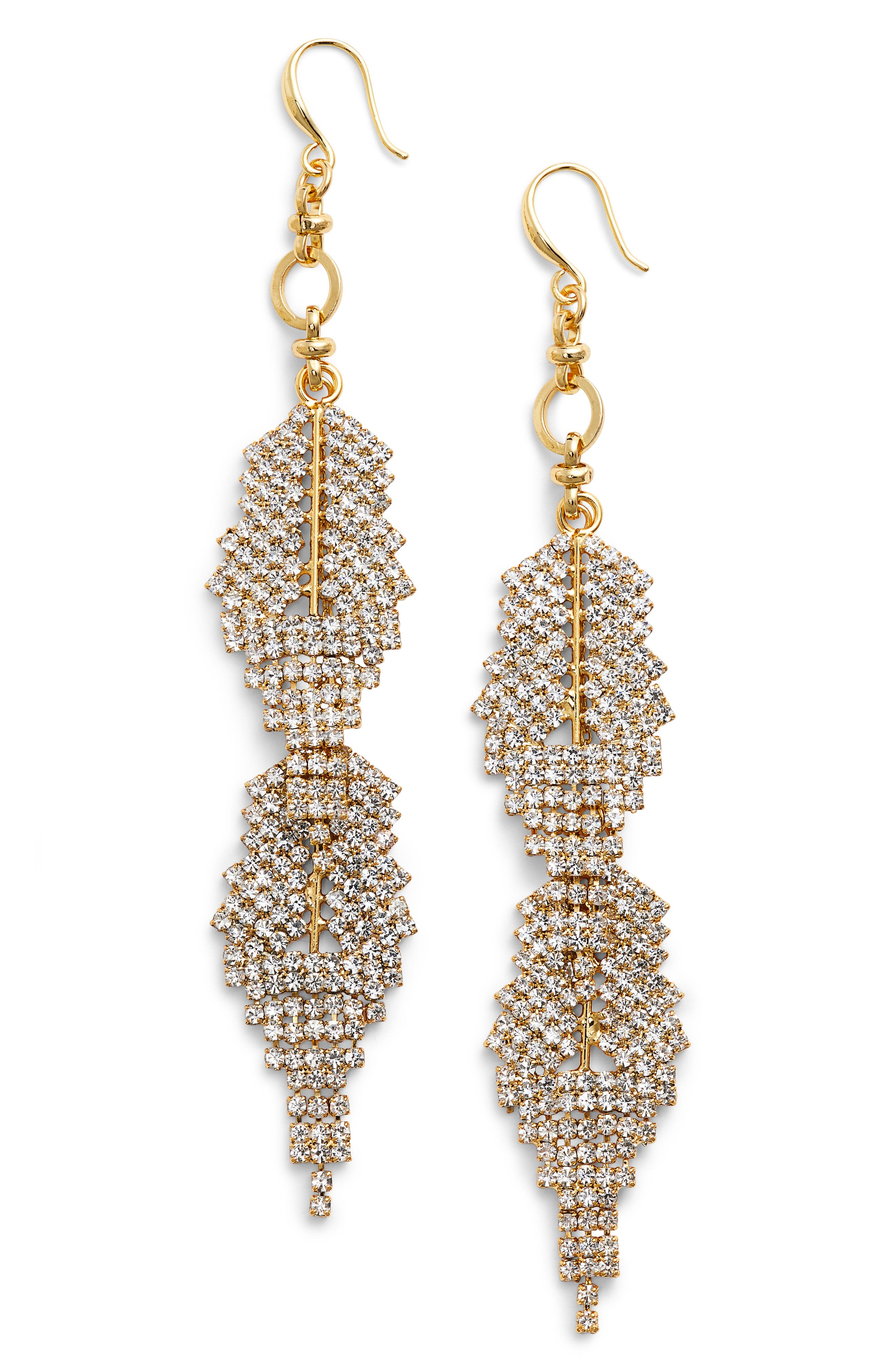 Crystal Drop Earrings,                         Main,                         color, Gold