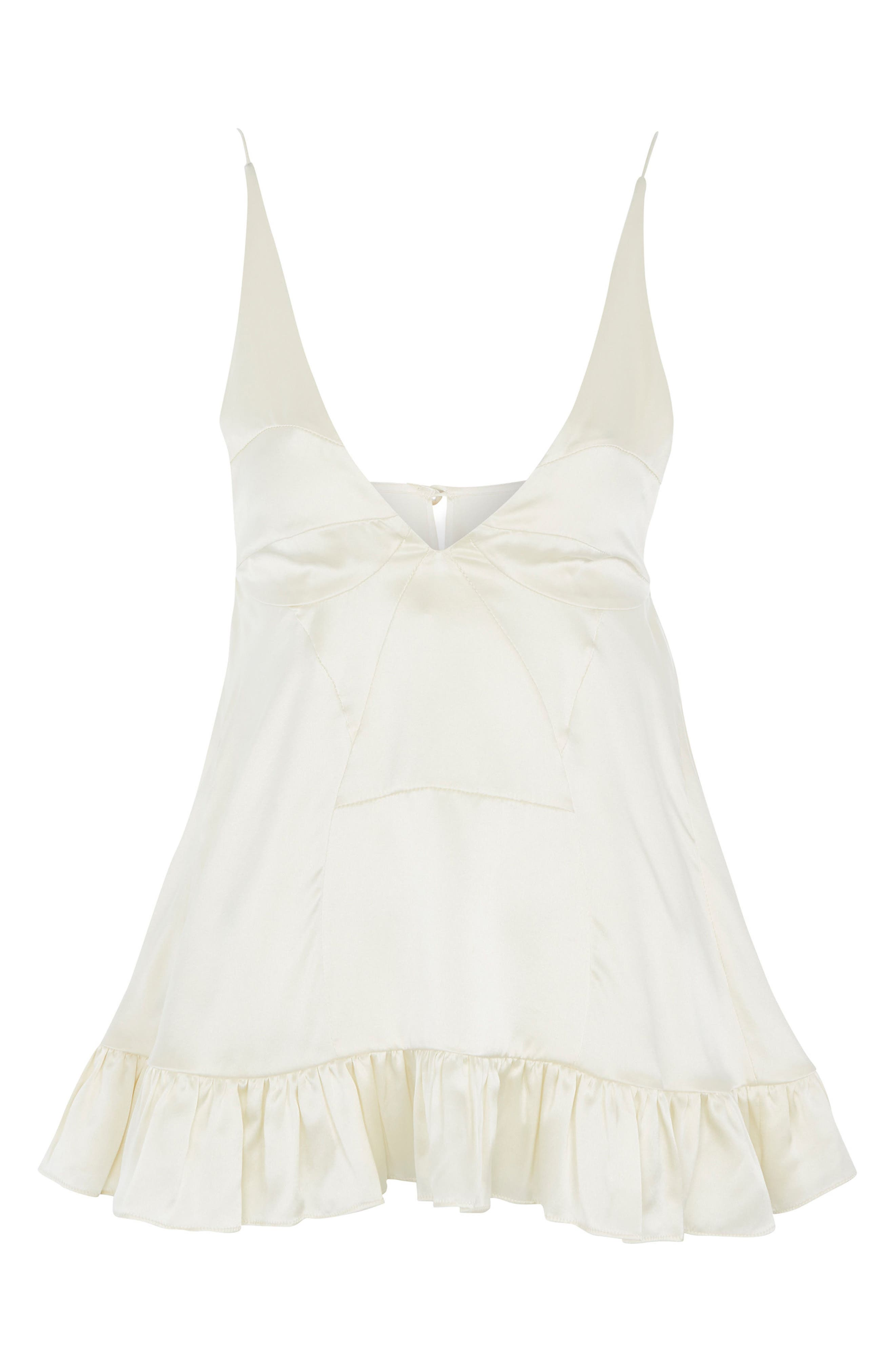 Topshop Satin Ruffle Camisole