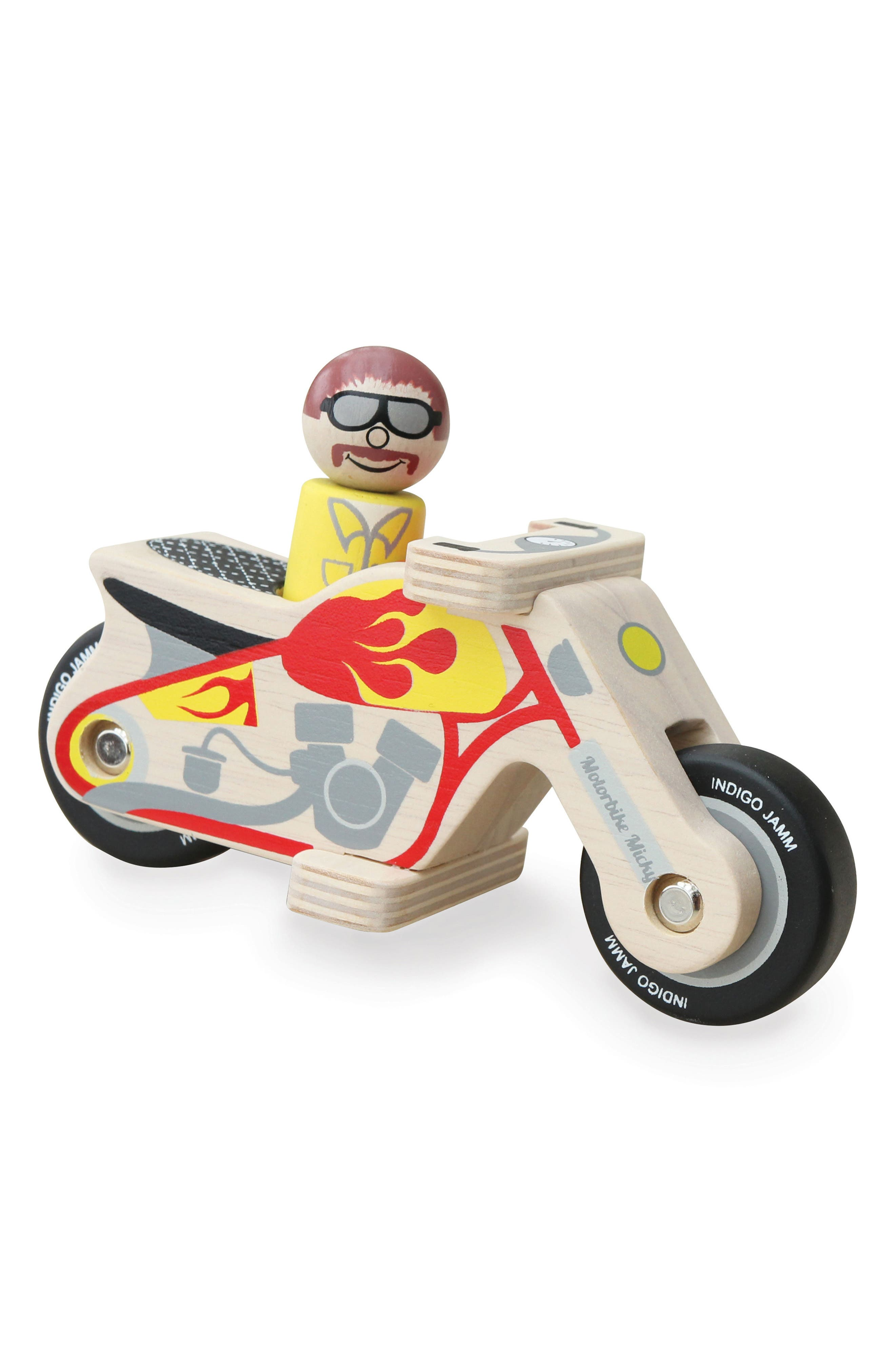 Motorbike Micky Wooden Toy,                             Main thumbnail 1, color,                             Beige