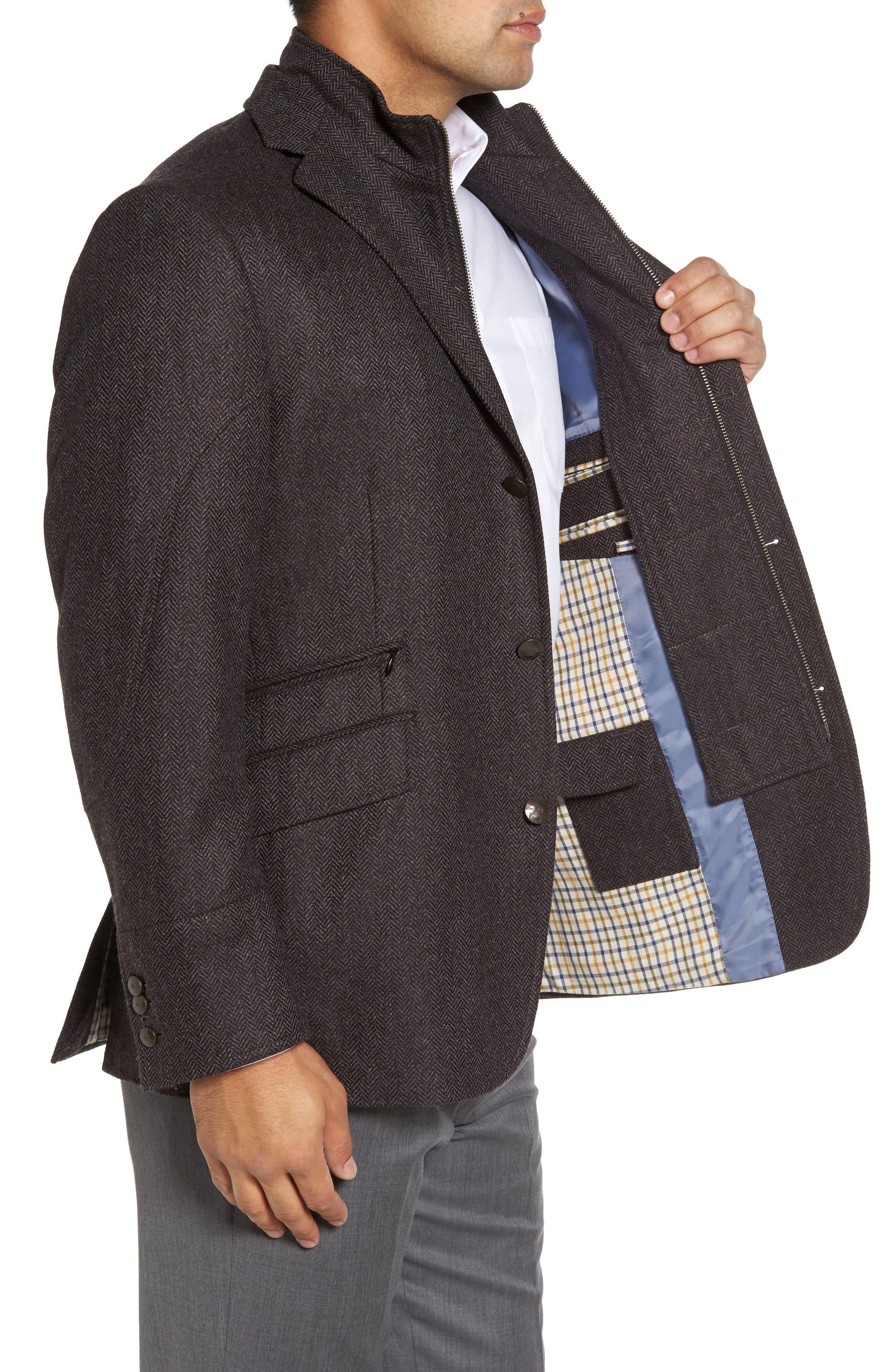 Ritchie Hybrid Classic Fit Wool & Cashmere Herringbone Sport Coat,                             Alternate thumbnail 4, color,                             Grey