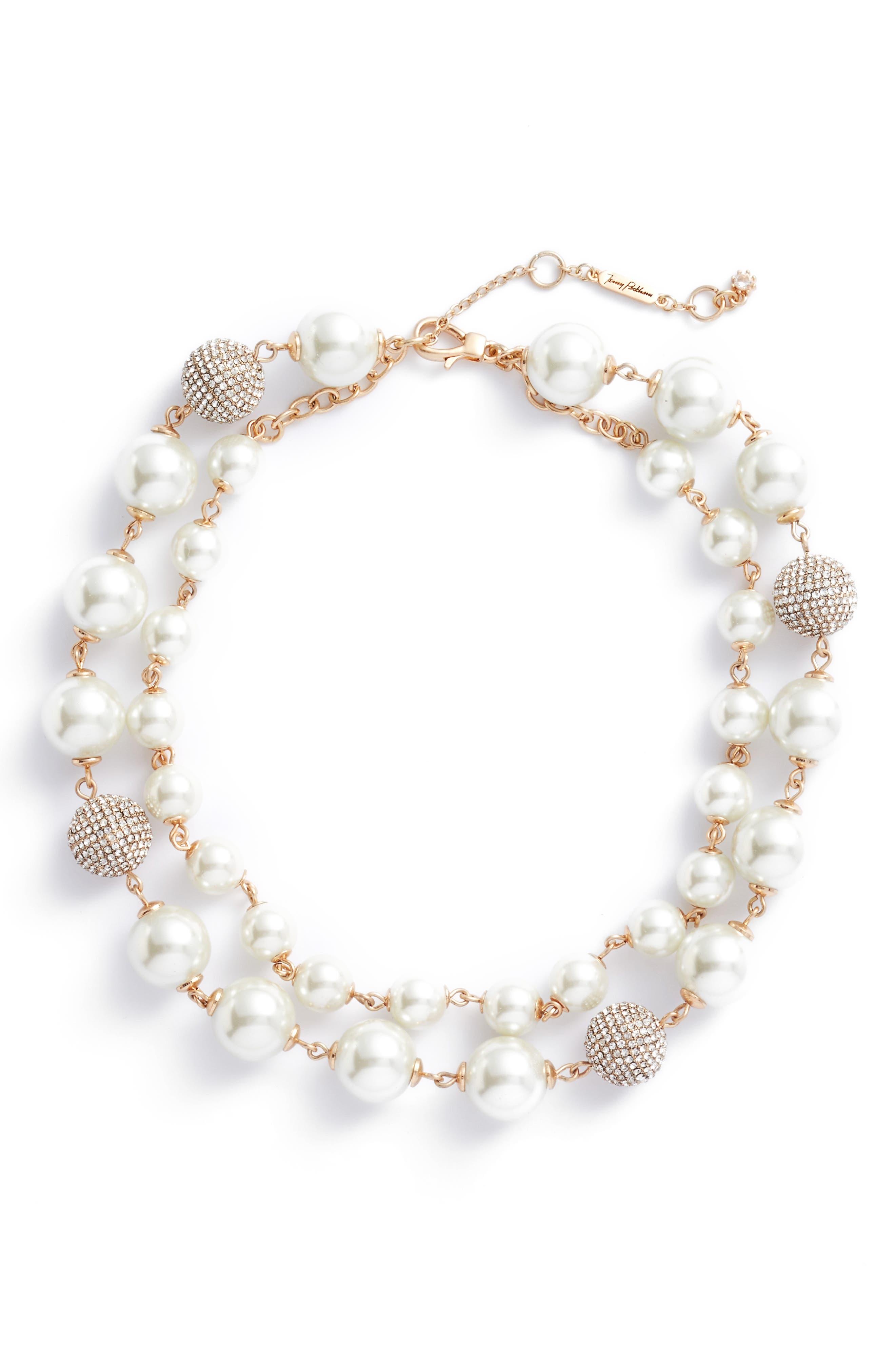 Multistrand Imitation Pearl Necklace,                             Main thumbnail 1, color,                             Gold/ Pearl/ Crystal