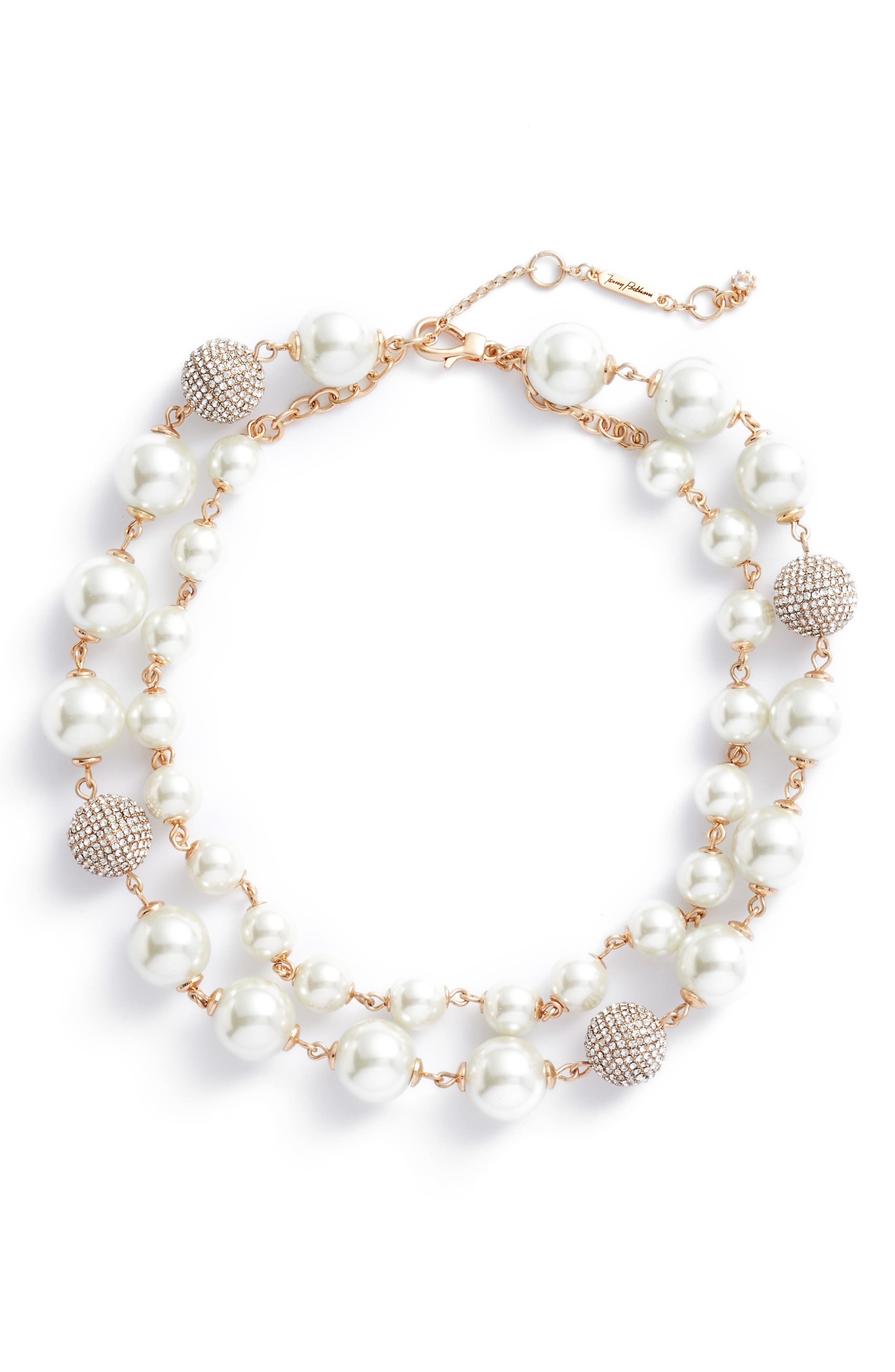 Multistrand Imitation Pearl Necklace,                         Main,                         color, Gold/ Pearl/ Crystal