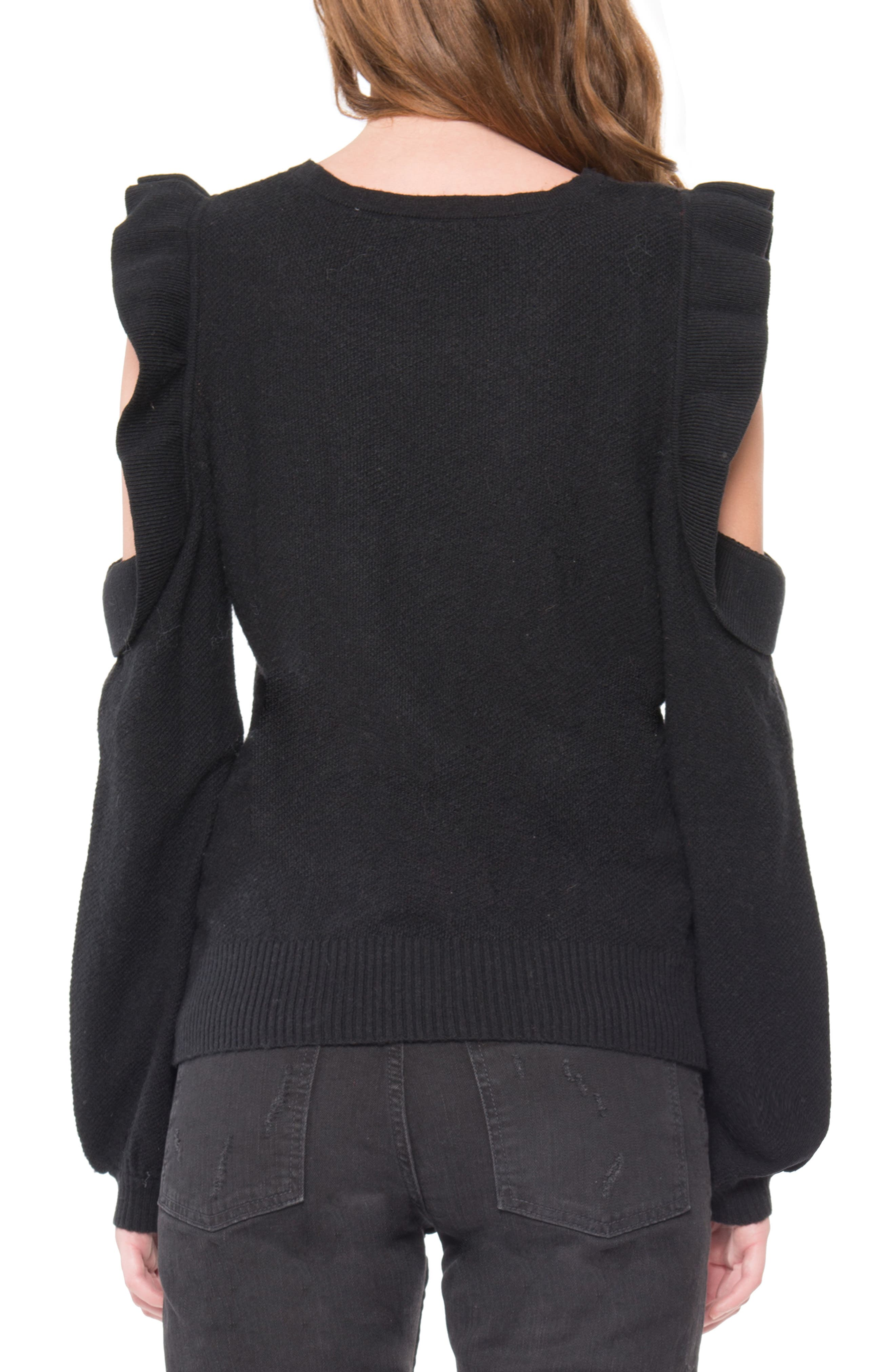 Cold Shoulder Ruffle Sweater,                             Alternate thumbnail 2, color,                             Black