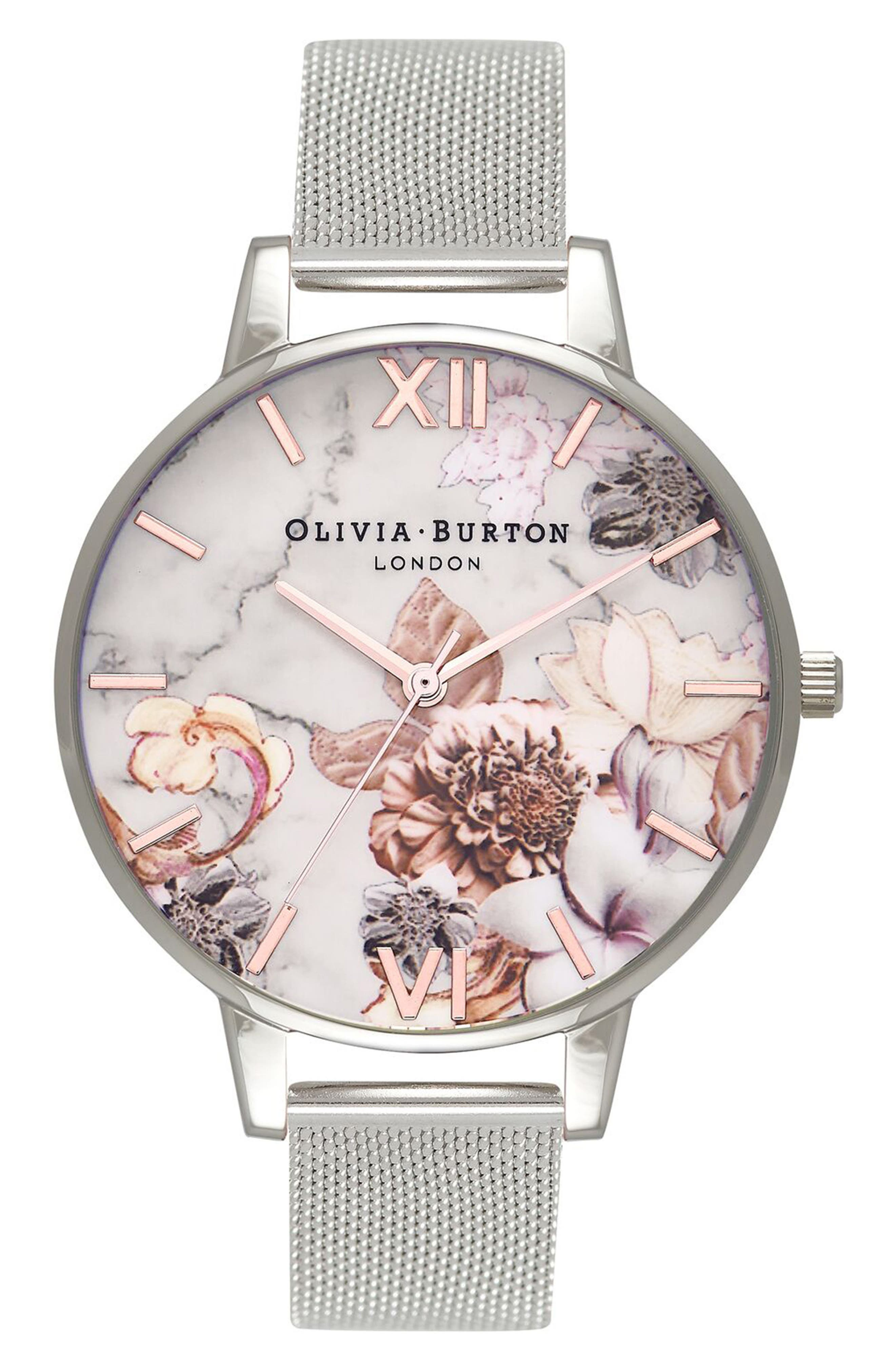 Marble Floral Mesh Strap Watch, 38mm,                         Main,                         color, Silver/ Floral/ Rose Gold