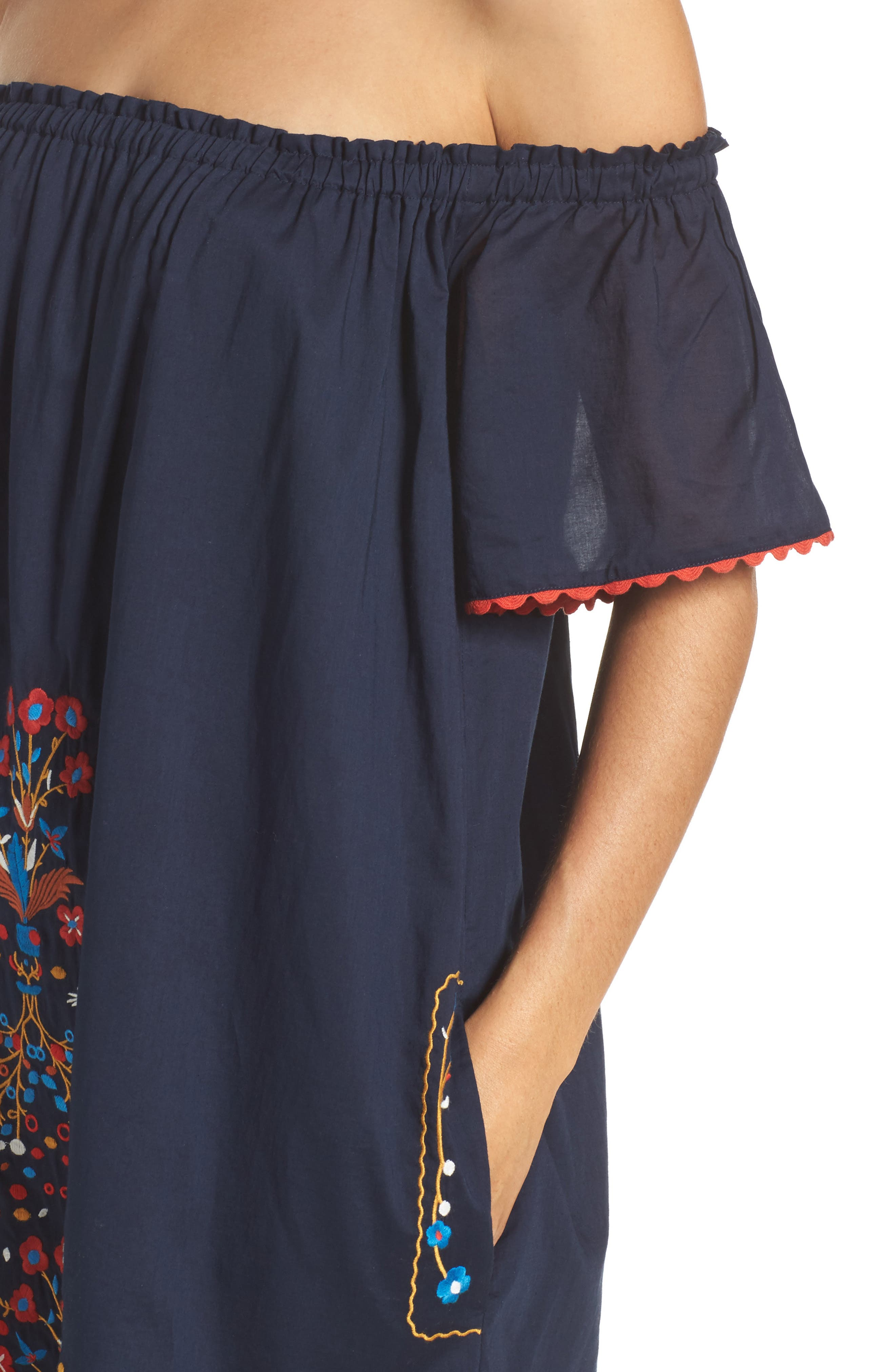 Wildflower Embroidered Off the Shoulder Cover-Up Dress,                             Alternate thumbnail 4, color,                             Tory Navy