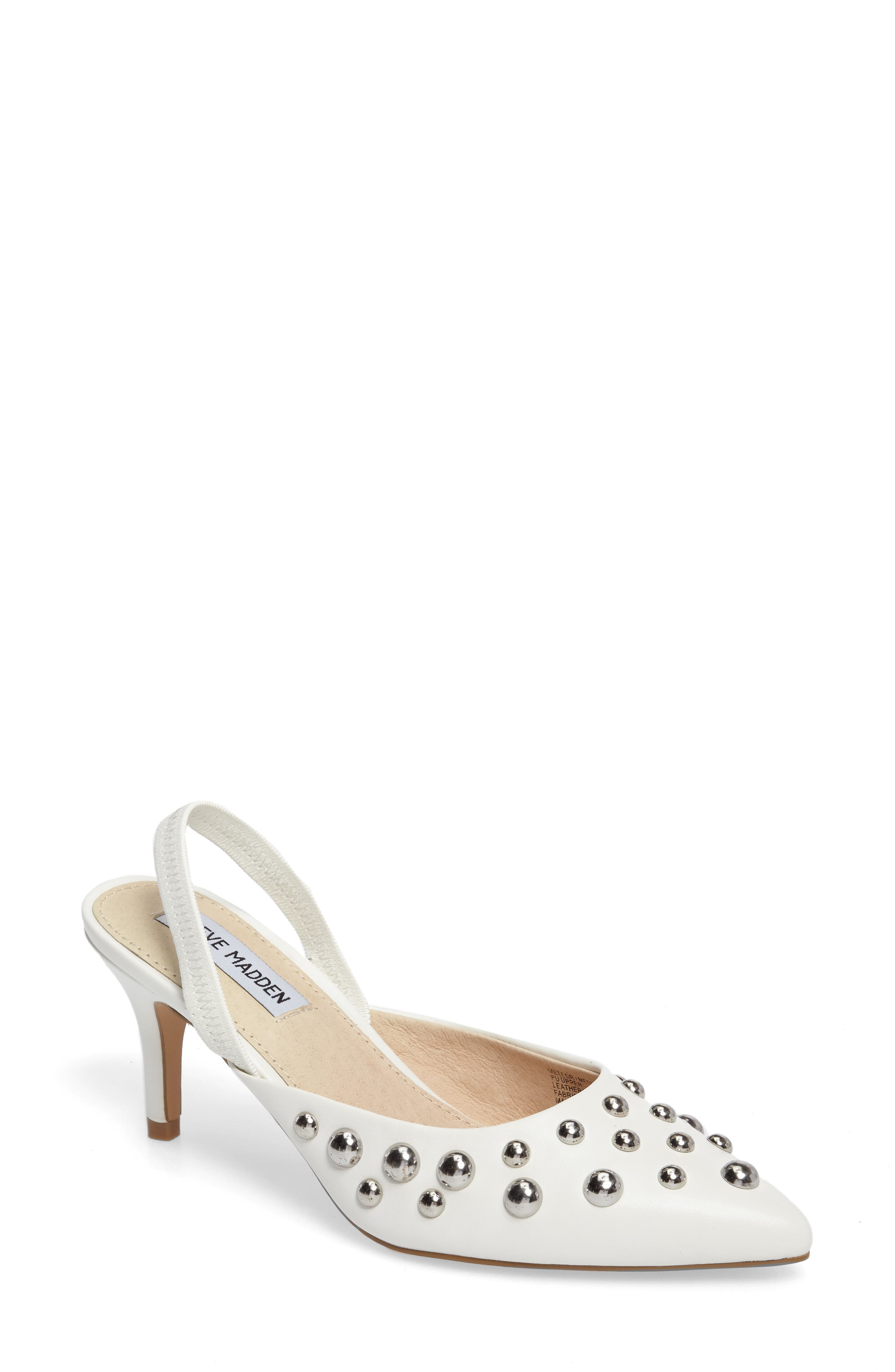 Meteor Studded Pump,                         Main,                         color, White Faux Leather