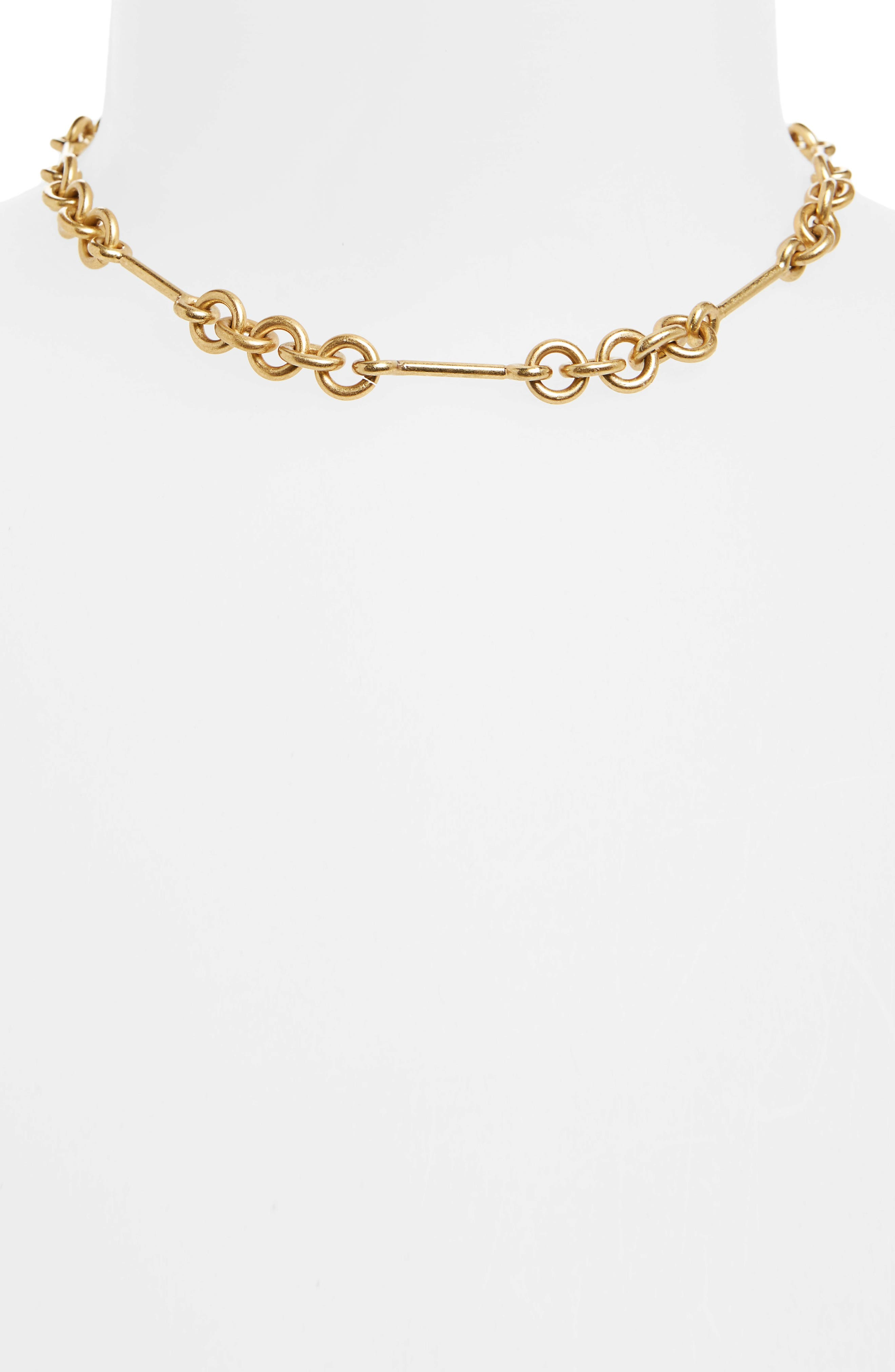 Circle Link Choker Necklace,                             Alternate thumbnail 2, color,                             Lt. Gold Ox