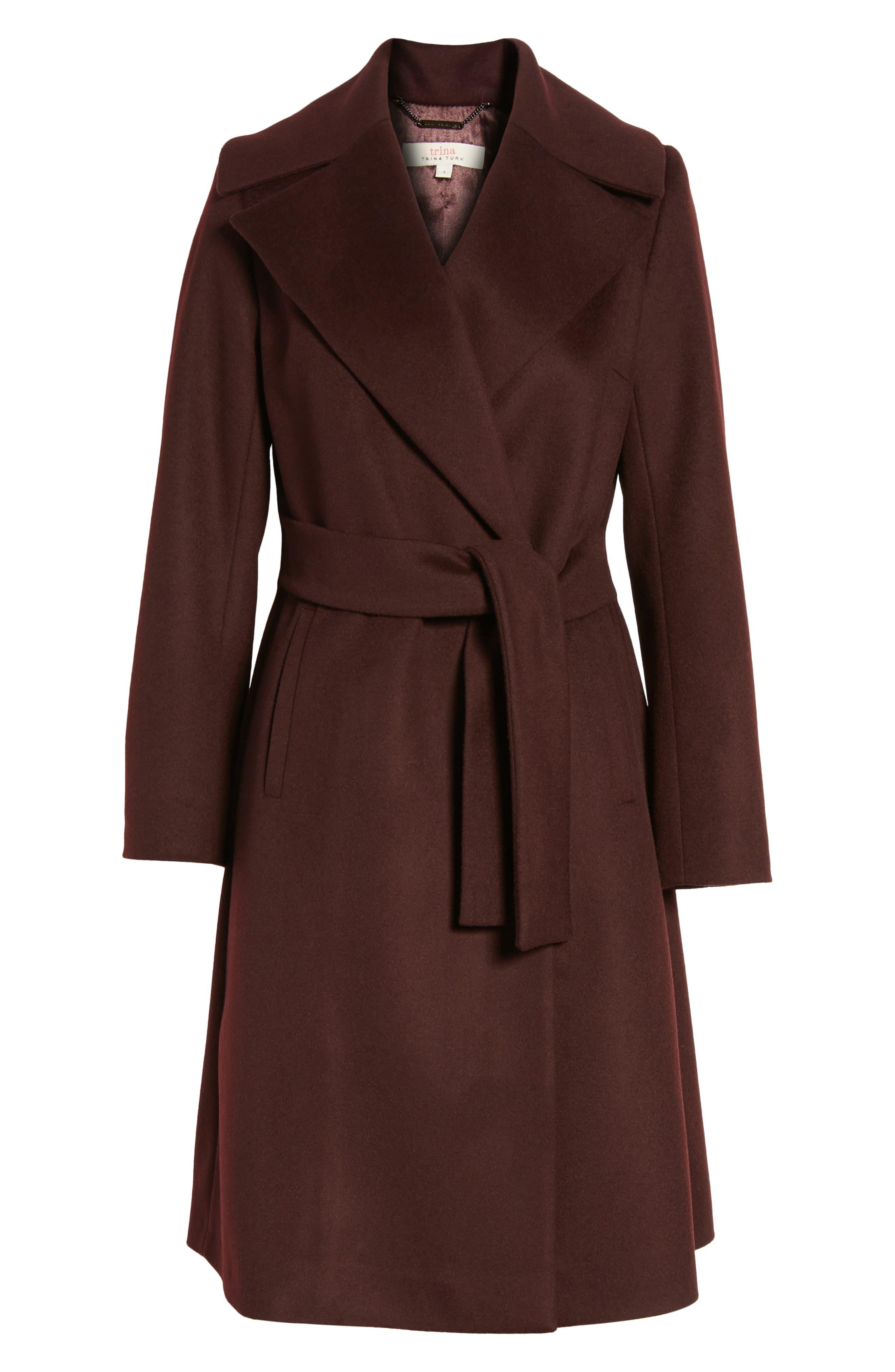 Luna Wool Blend Wrap Coat,                             Alternate thumbnail 5, color,                             Wine