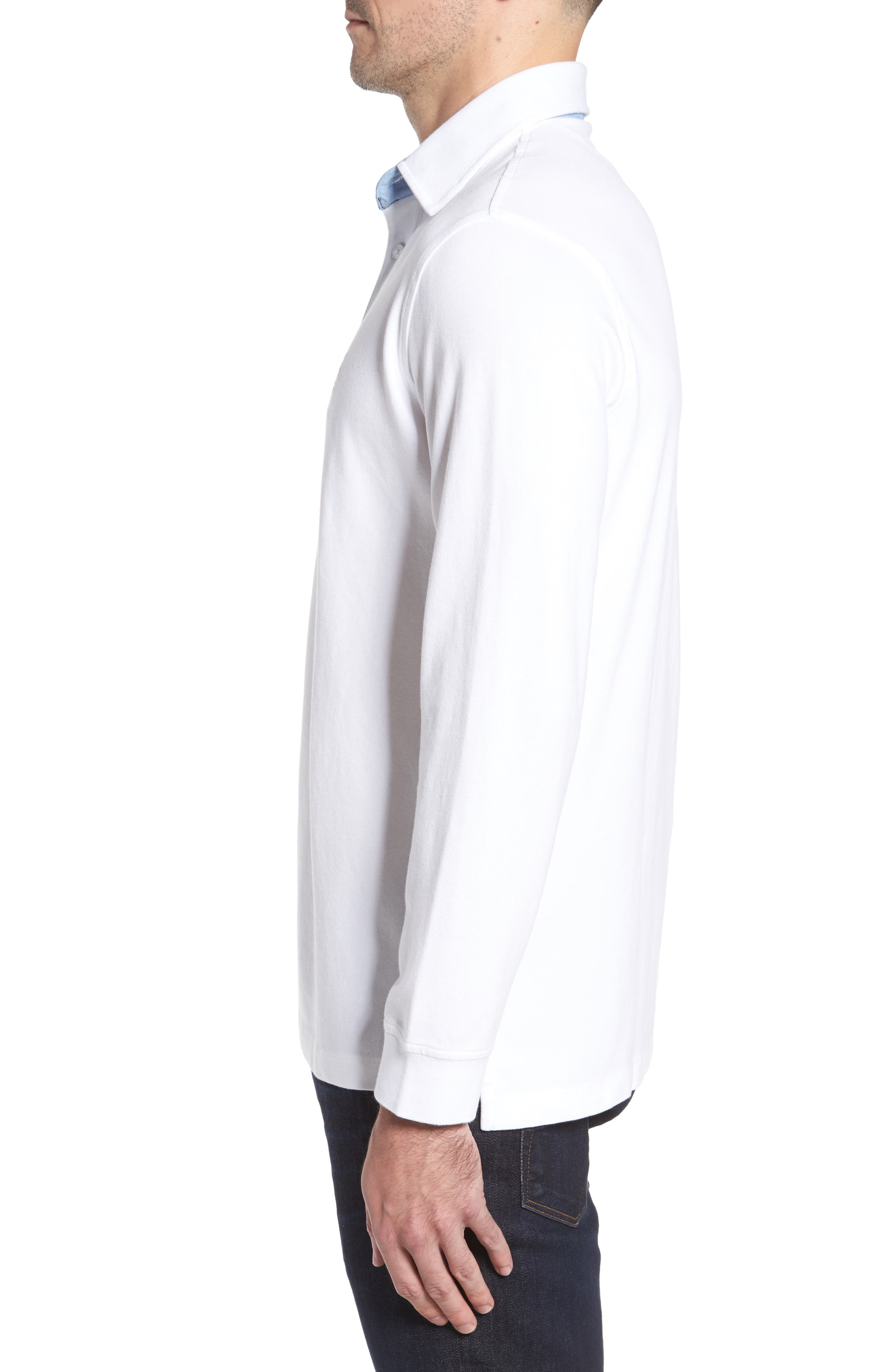 Two-Tone Piqué Knit Polo,                             Alternate thumbnail 3, color,                             Pure White