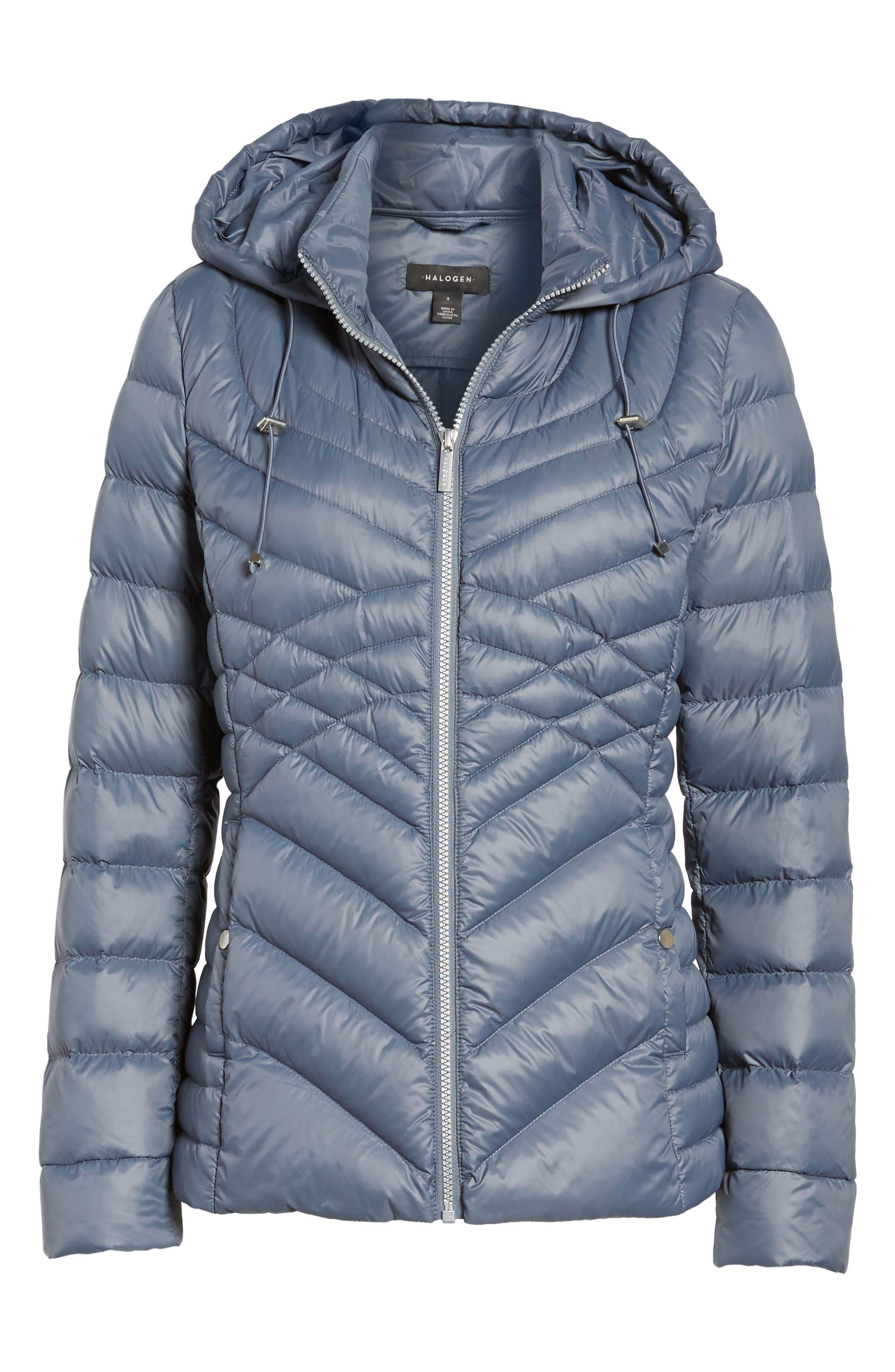 Hooded Down Blend Puffer Jacket,                             Alternate thumbnail 6, color,                             Ice Blue