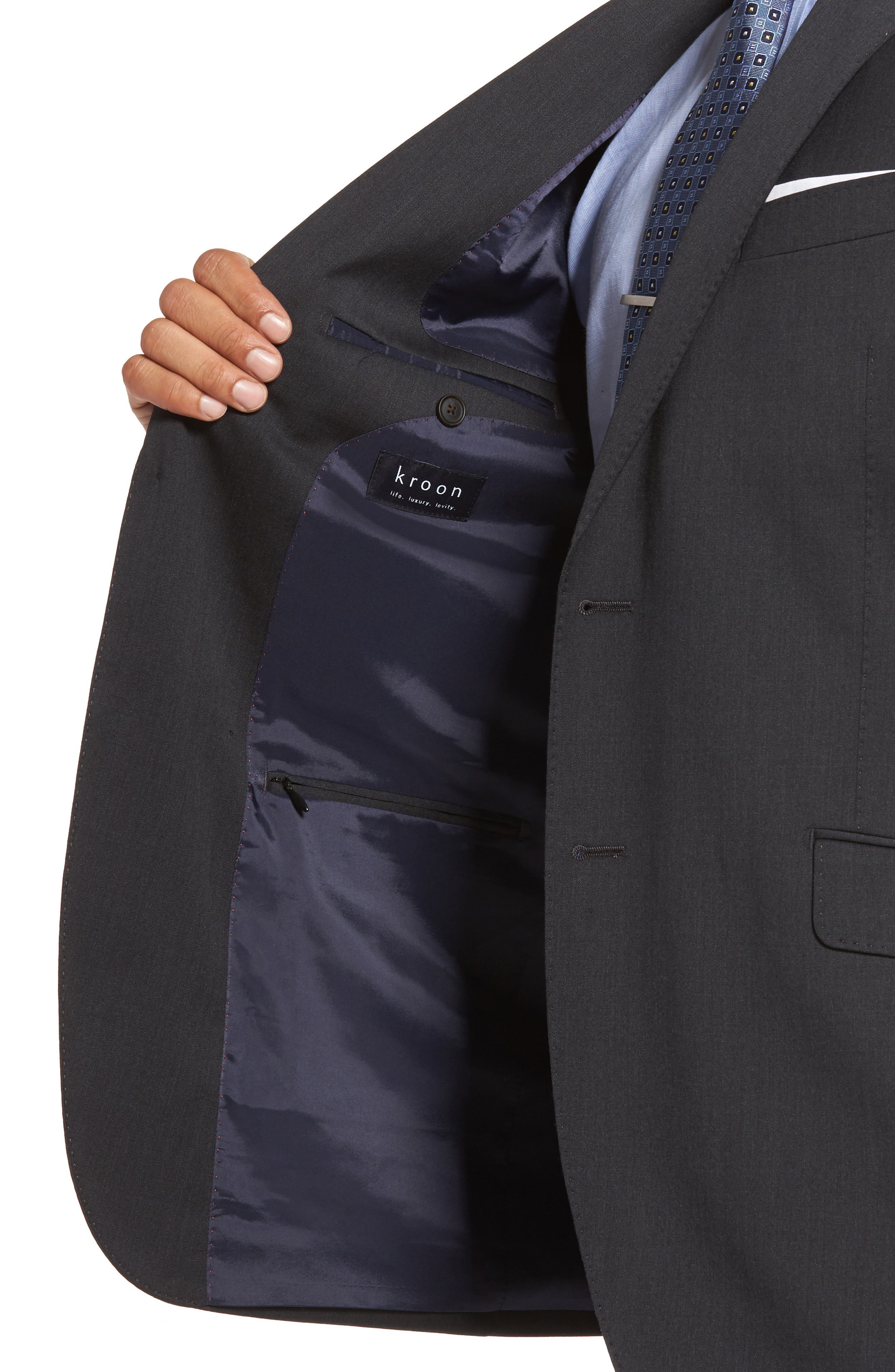 Keidis Aim Classic Fit Stretch Wool Suit,                             Alternate thumbnail 4, color,                             Charcoal